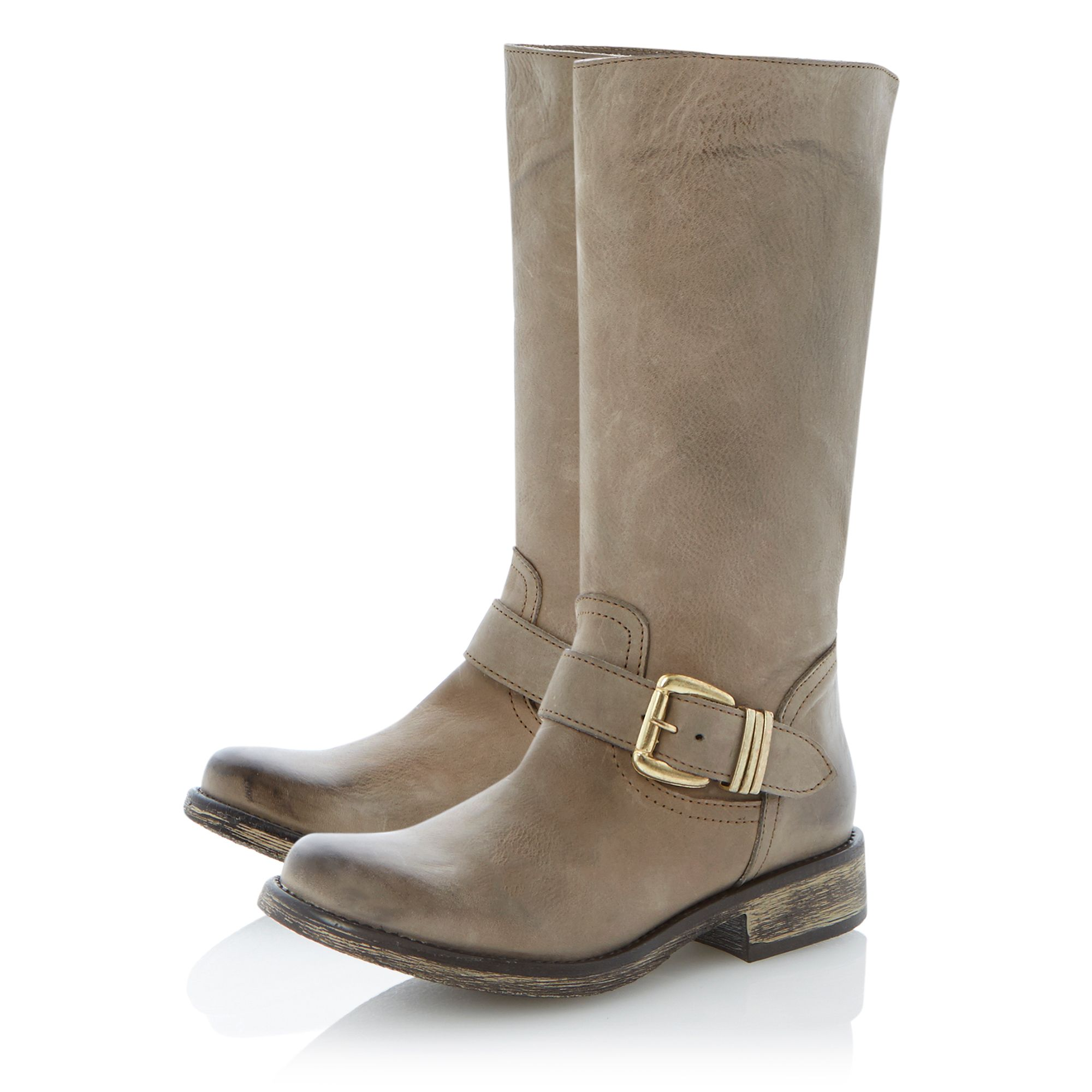 Fyzzle buckle trim leather calf boots