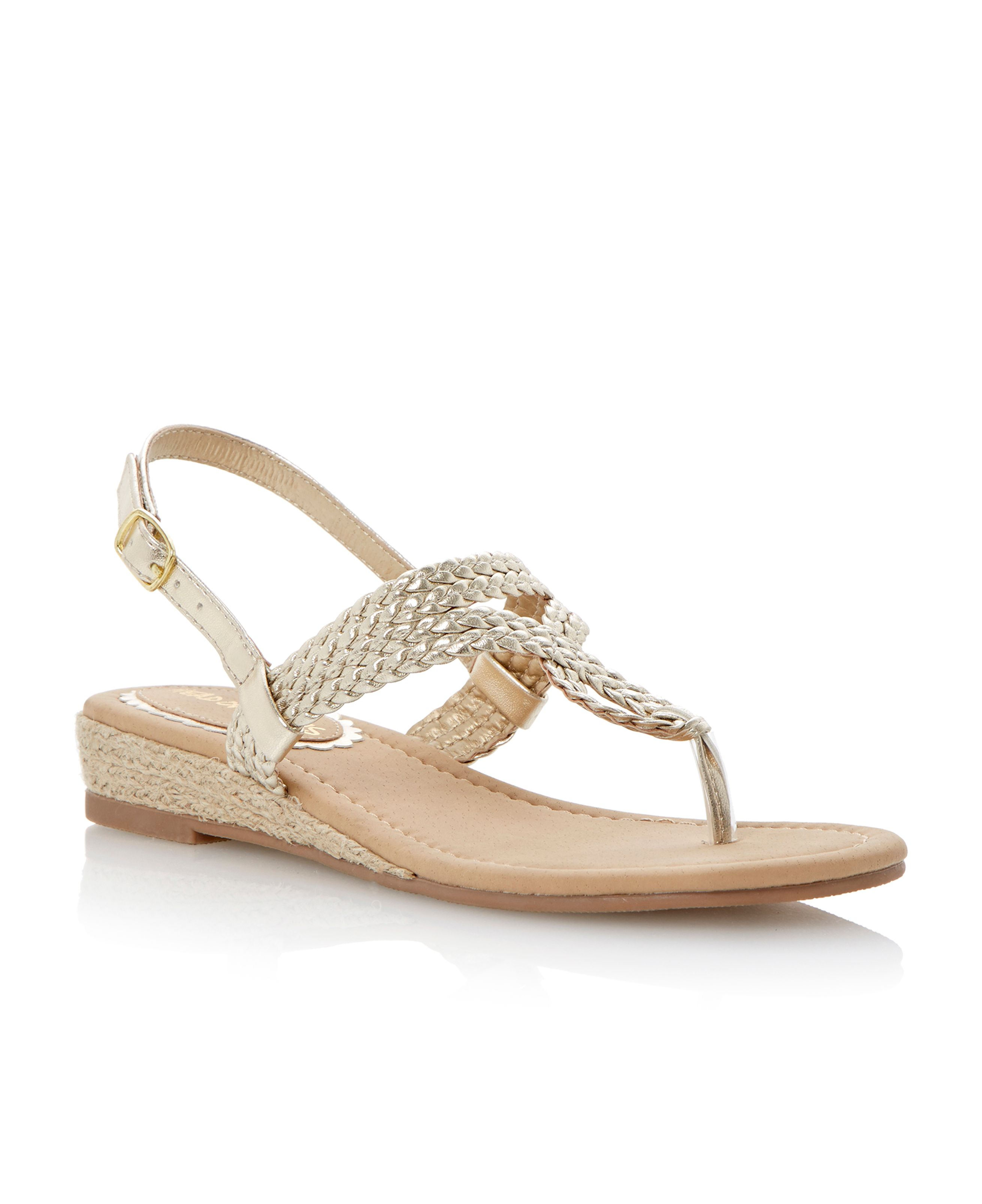 Jonie twisted strap buckle wedge sandals