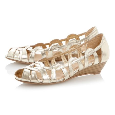 Head Over Heels Moxy peeptoe mini wedge ballerina shoes