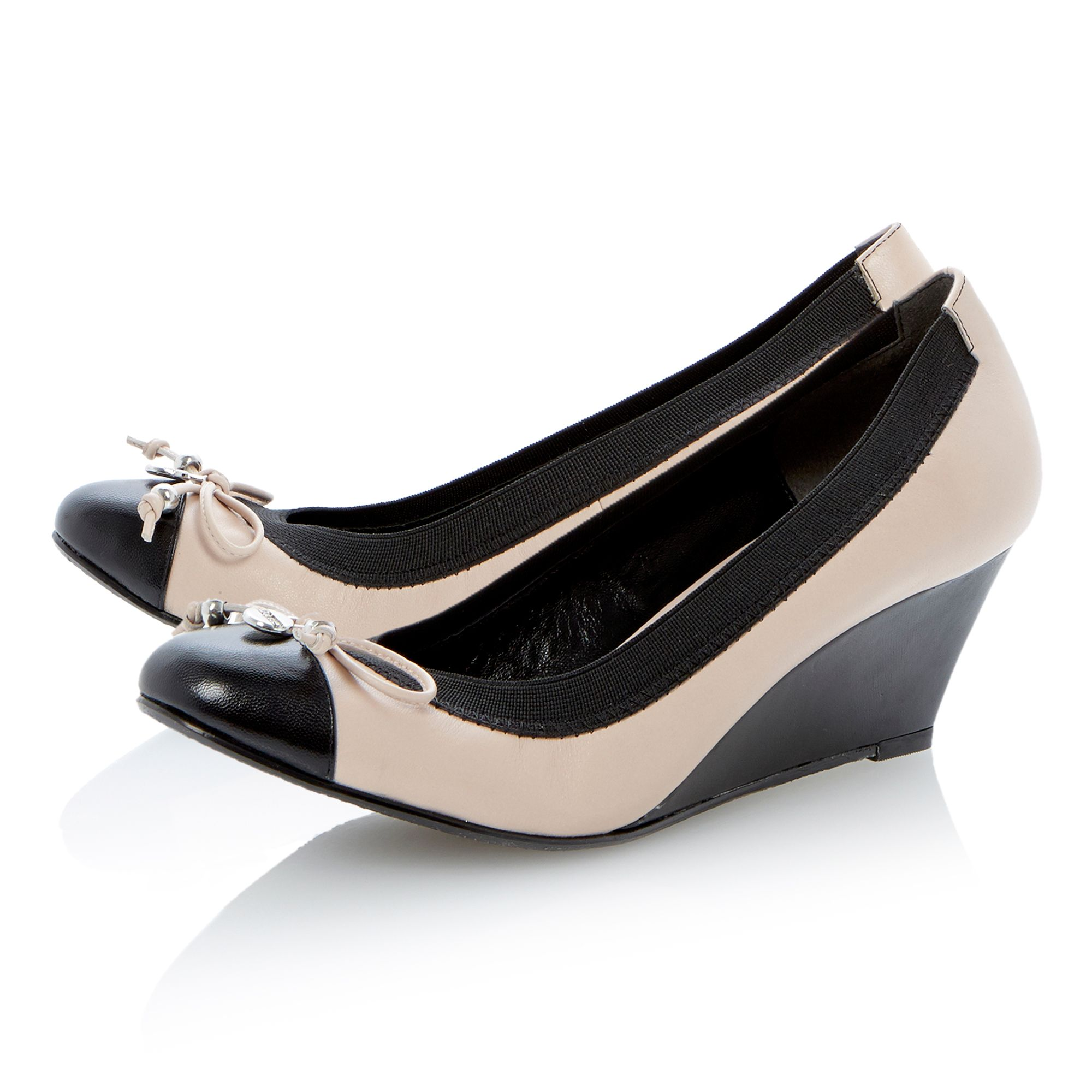 Atara suede round toe wedge court shoes