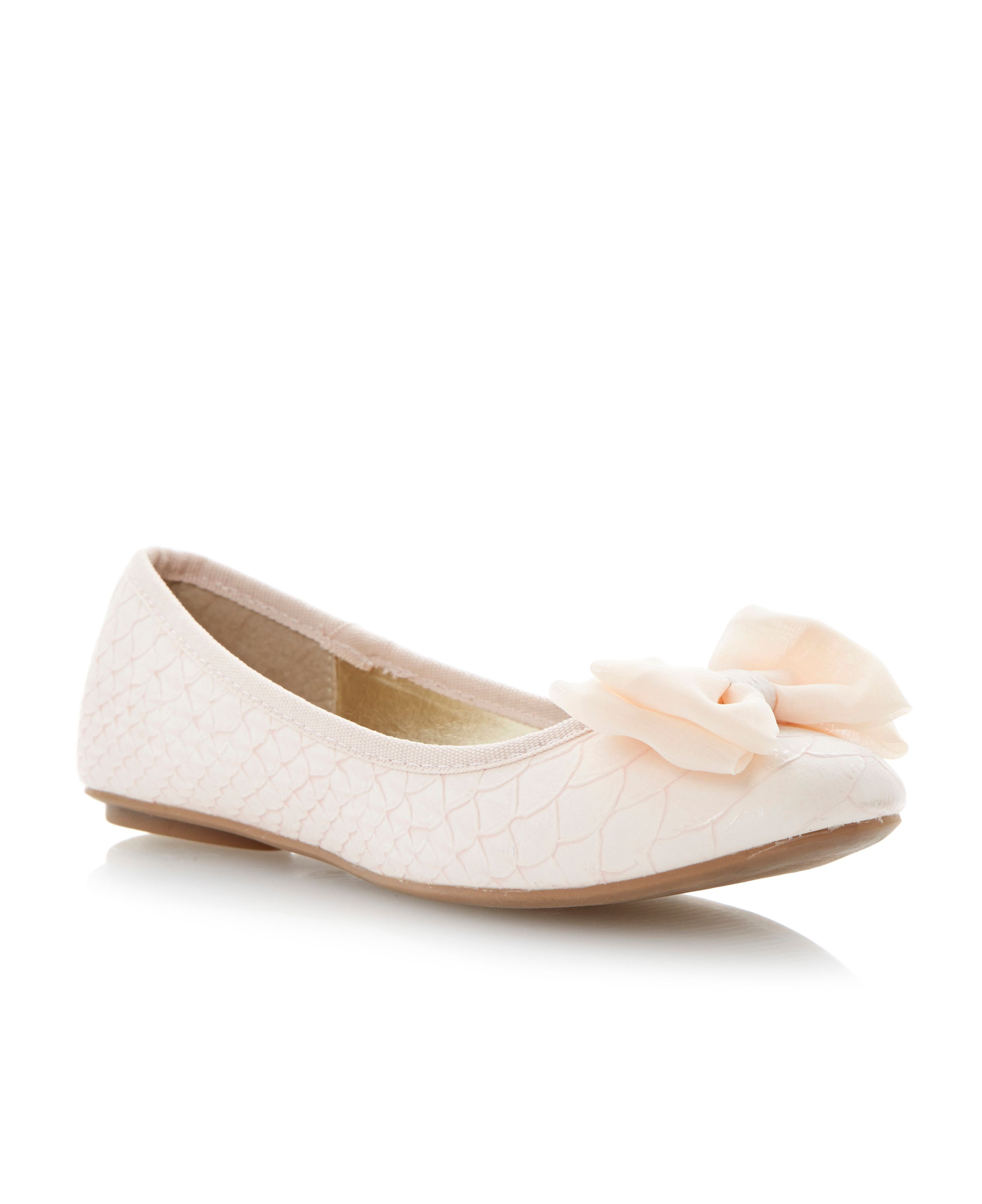 Mona chiffon bow ballerina shoes