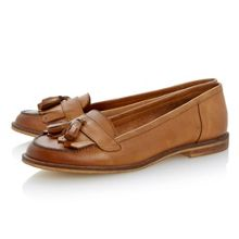 Lako leather block heel round toe loafer shoes
