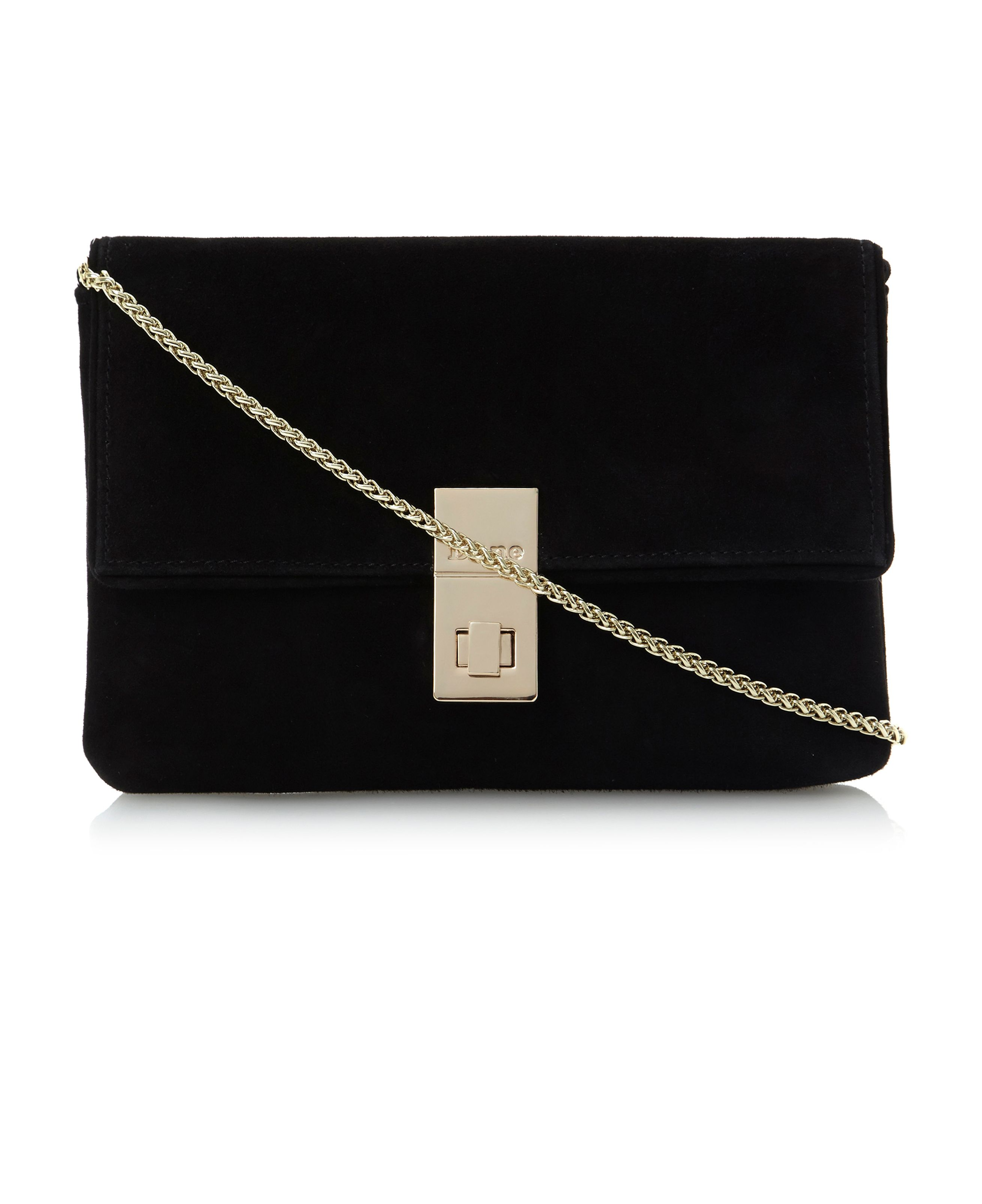 Ebba branded lock suede clutch bag