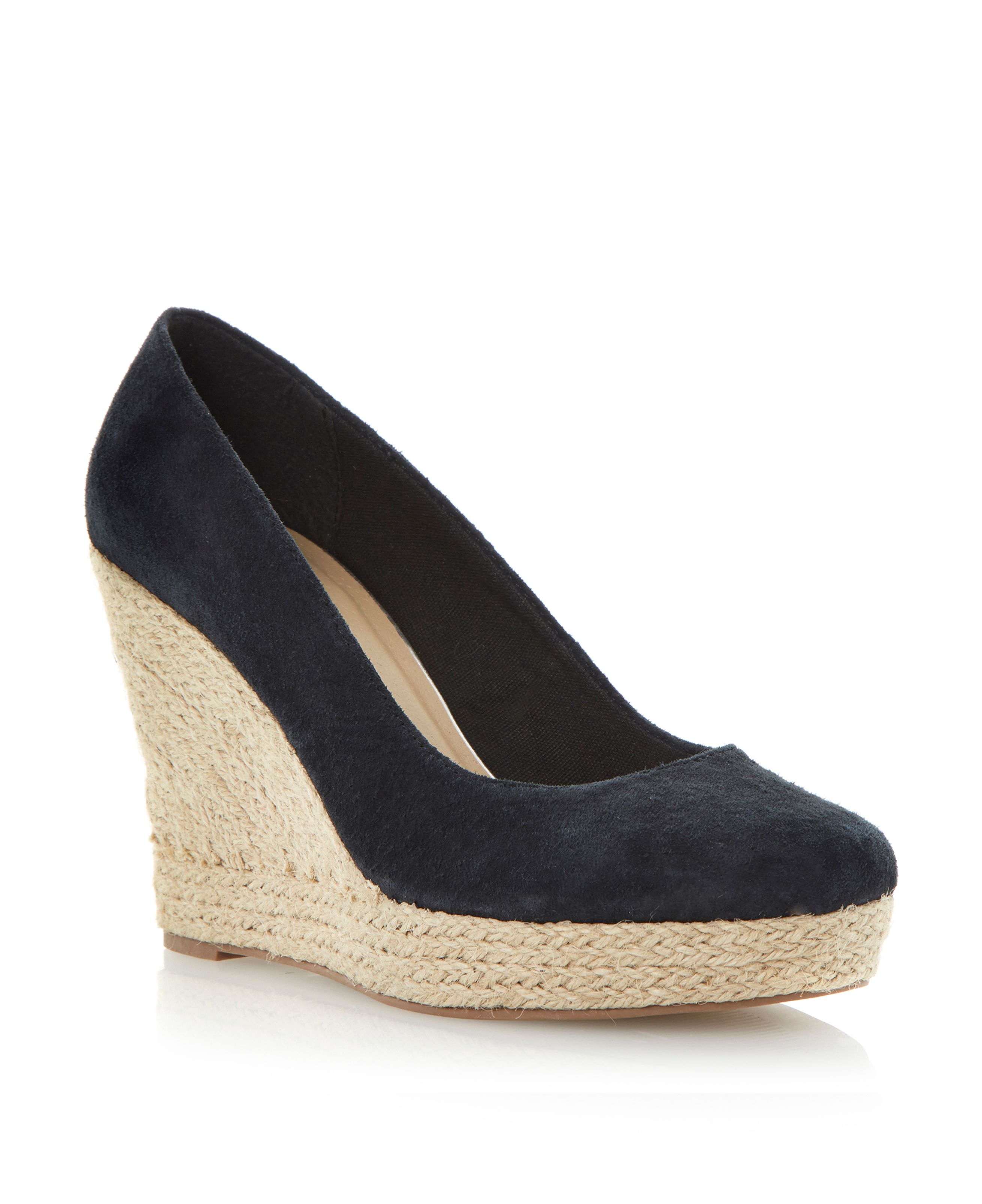 Antipasto suede espadrille wedge court shoes