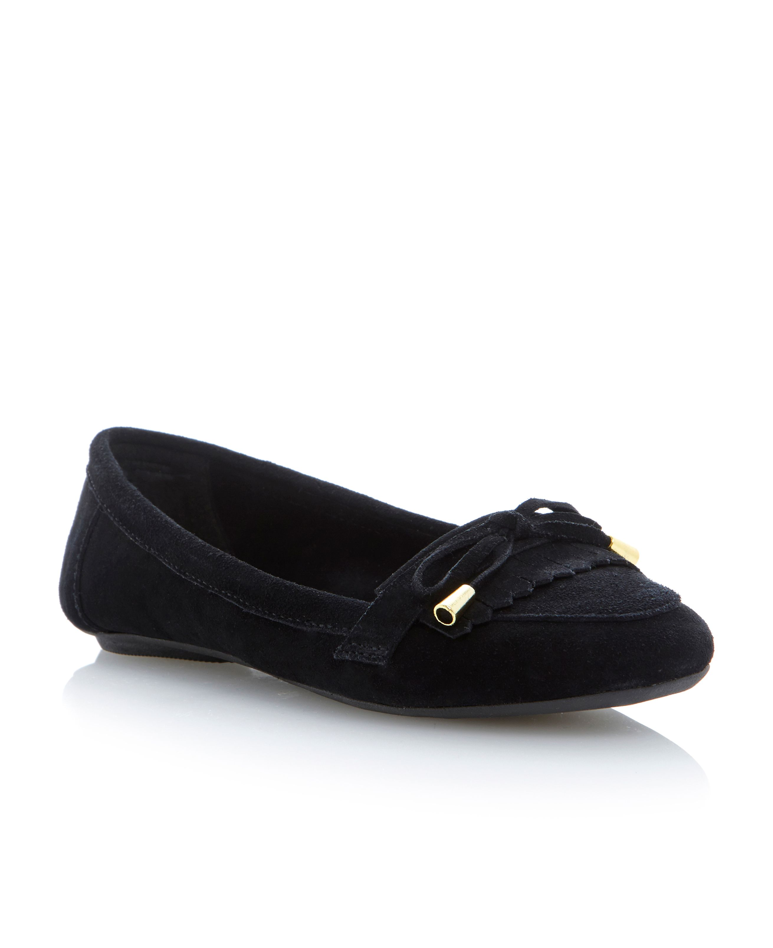 Lychees fringe and bow trim suede loafer shoes