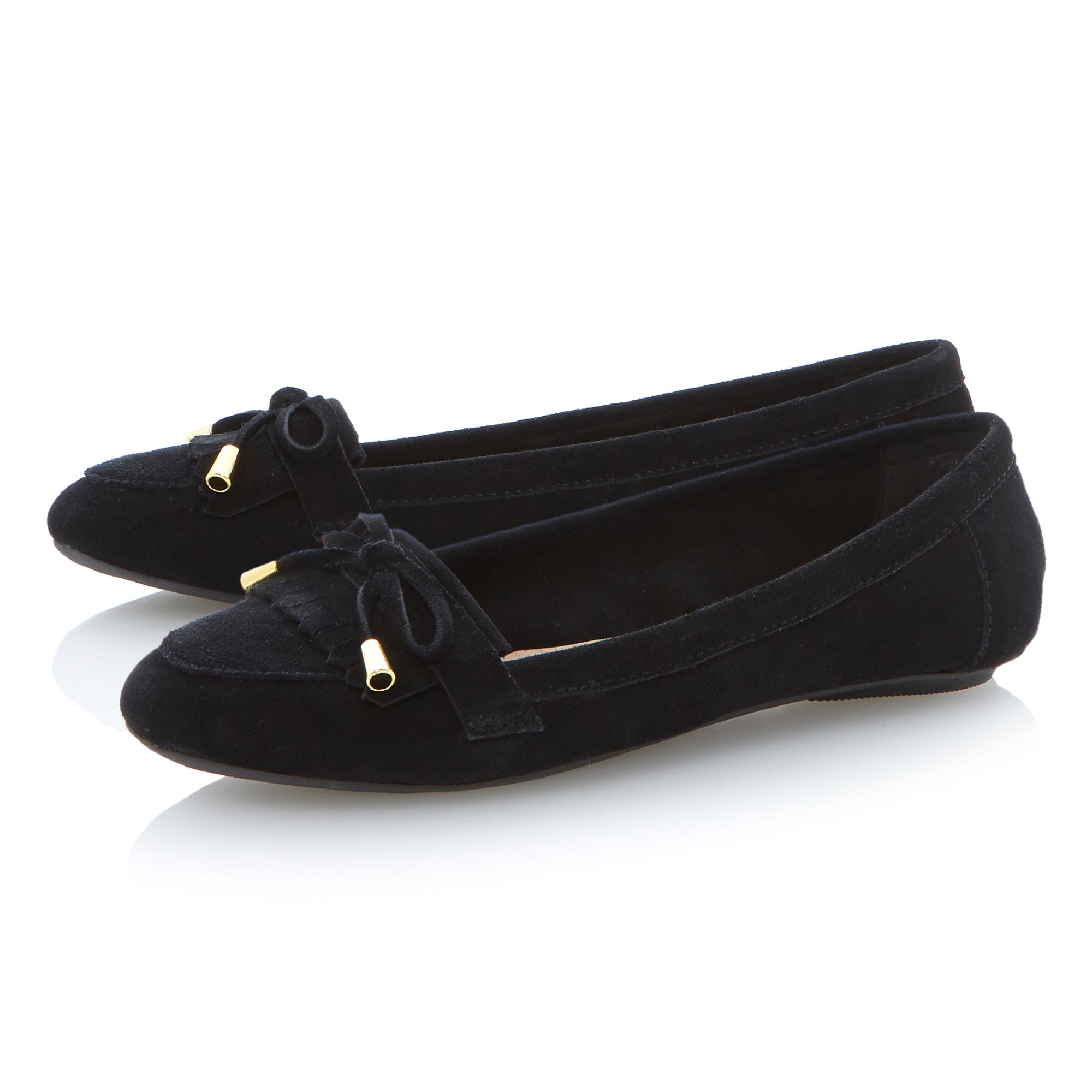 Lychees fringe and bow trim suede loafers