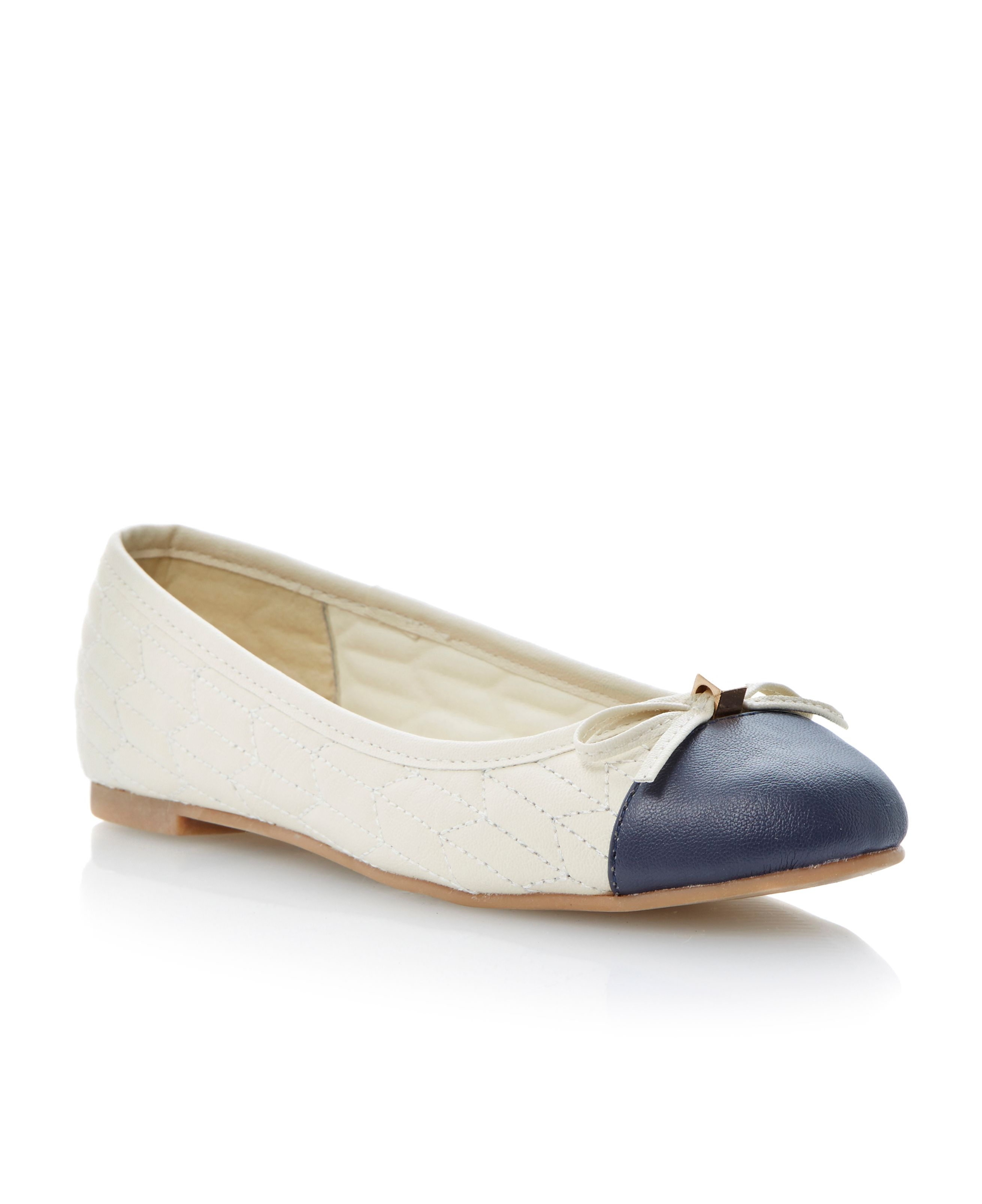Macadamia almond toe flat ballerina shoes