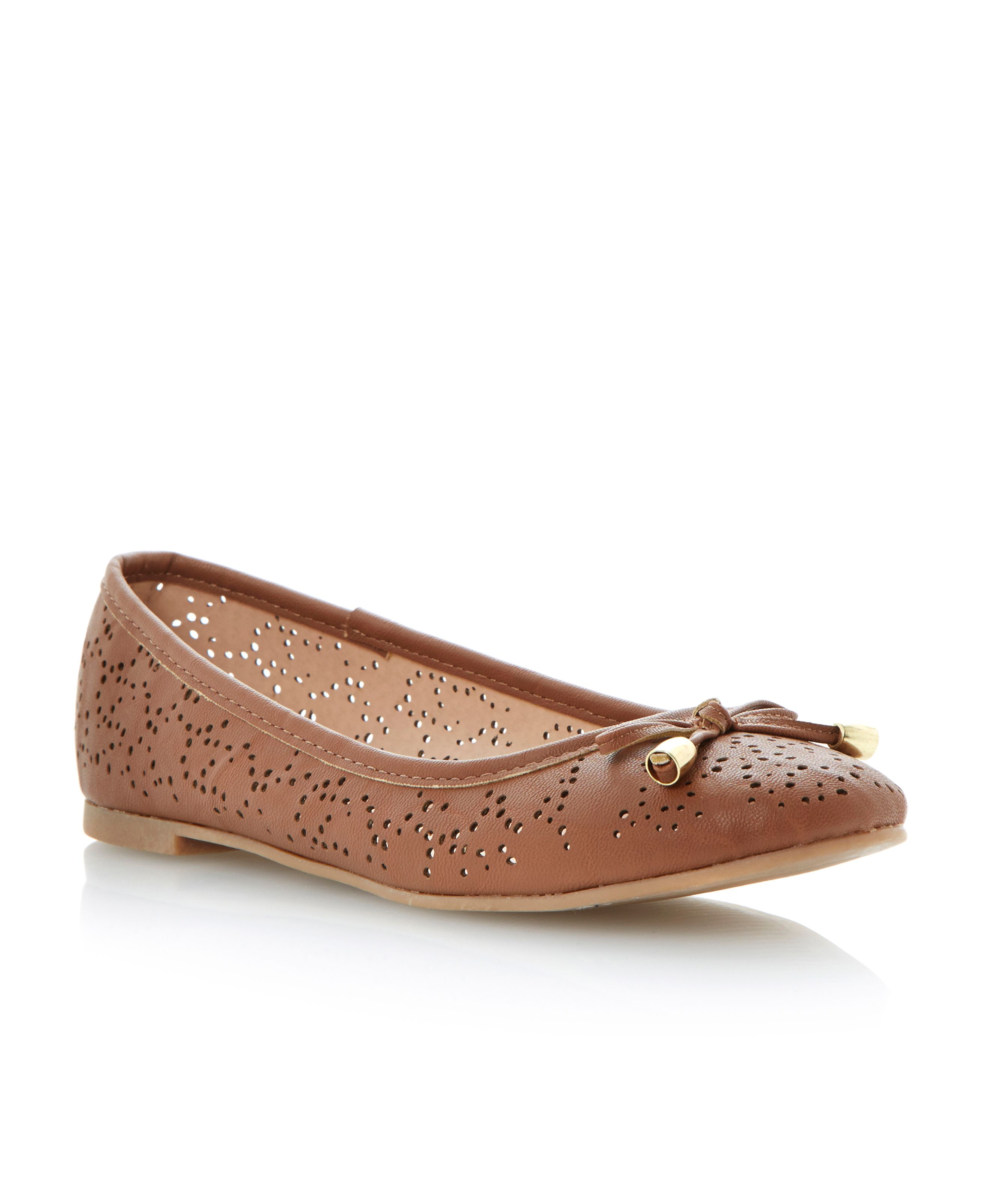 Marigold almond toe flat ballerina shoes