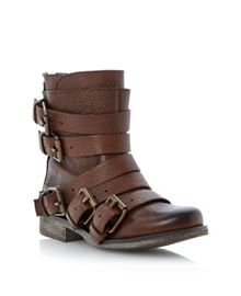 Restrayn oversized buckle strap ankle boots