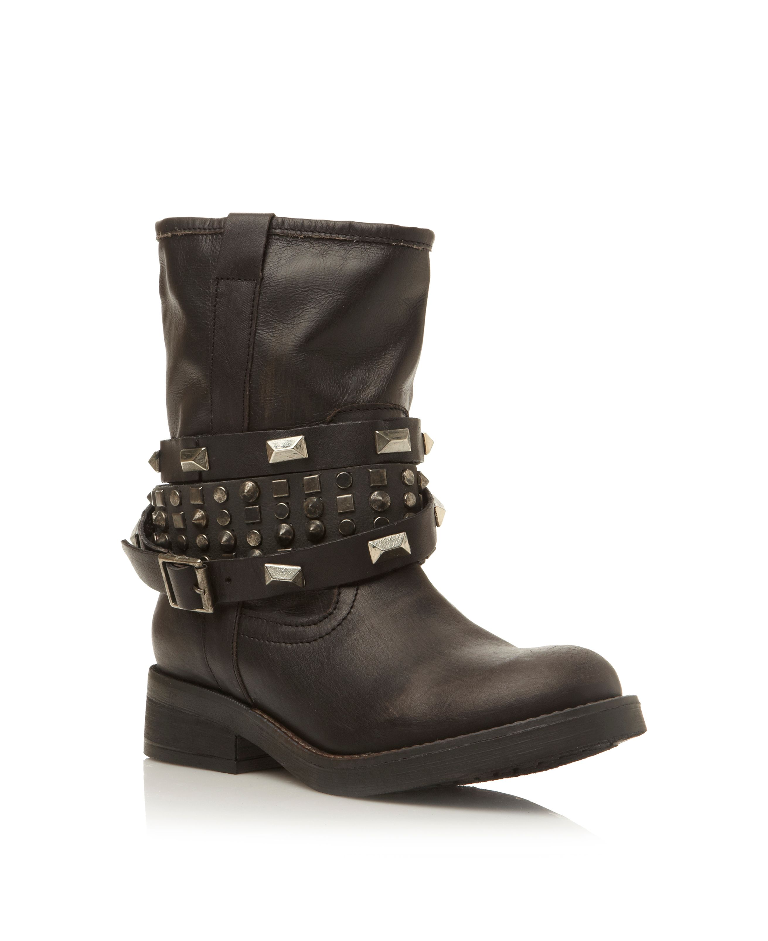 Mightee stud and strap detail boots