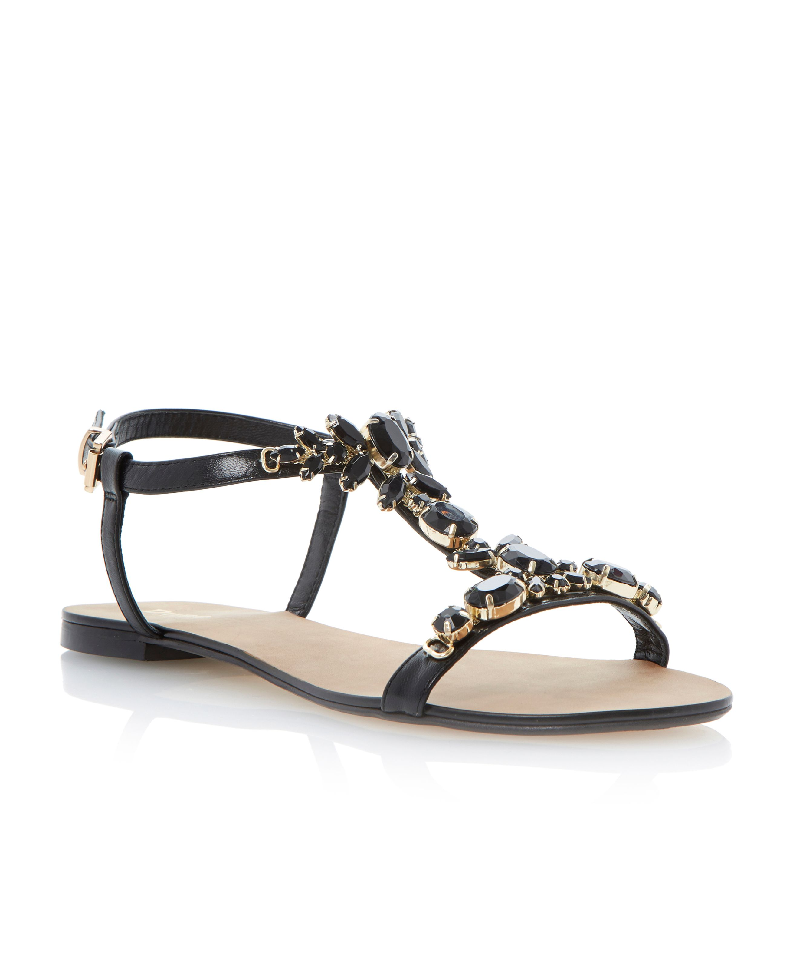 Khloe leather flat buckle dressy sandals