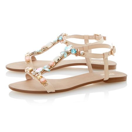 Dune Khloe leather flat buckle dressy sandals