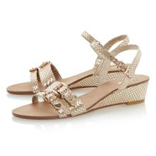 Gail leather wedge buckle sandals