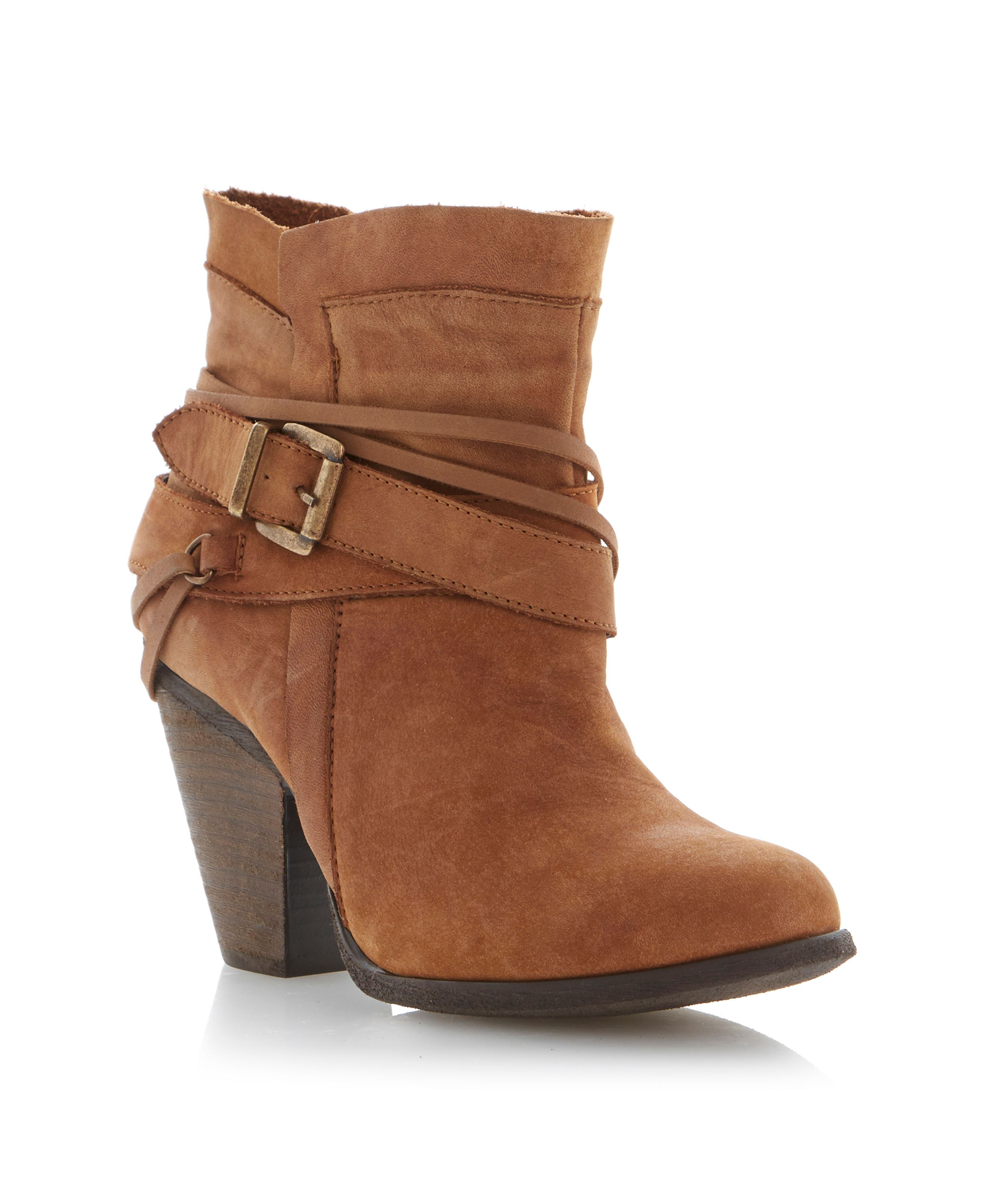 Raffa leather almond toe block heel boots