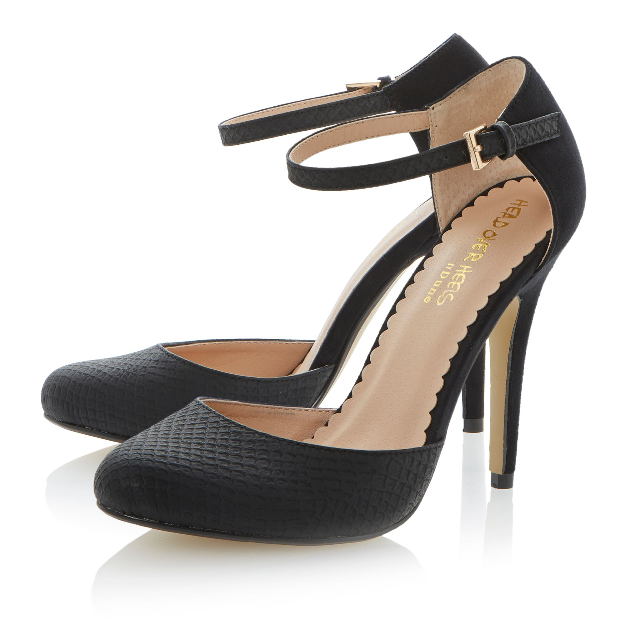 Danu round toe stiletto buckle court shoes