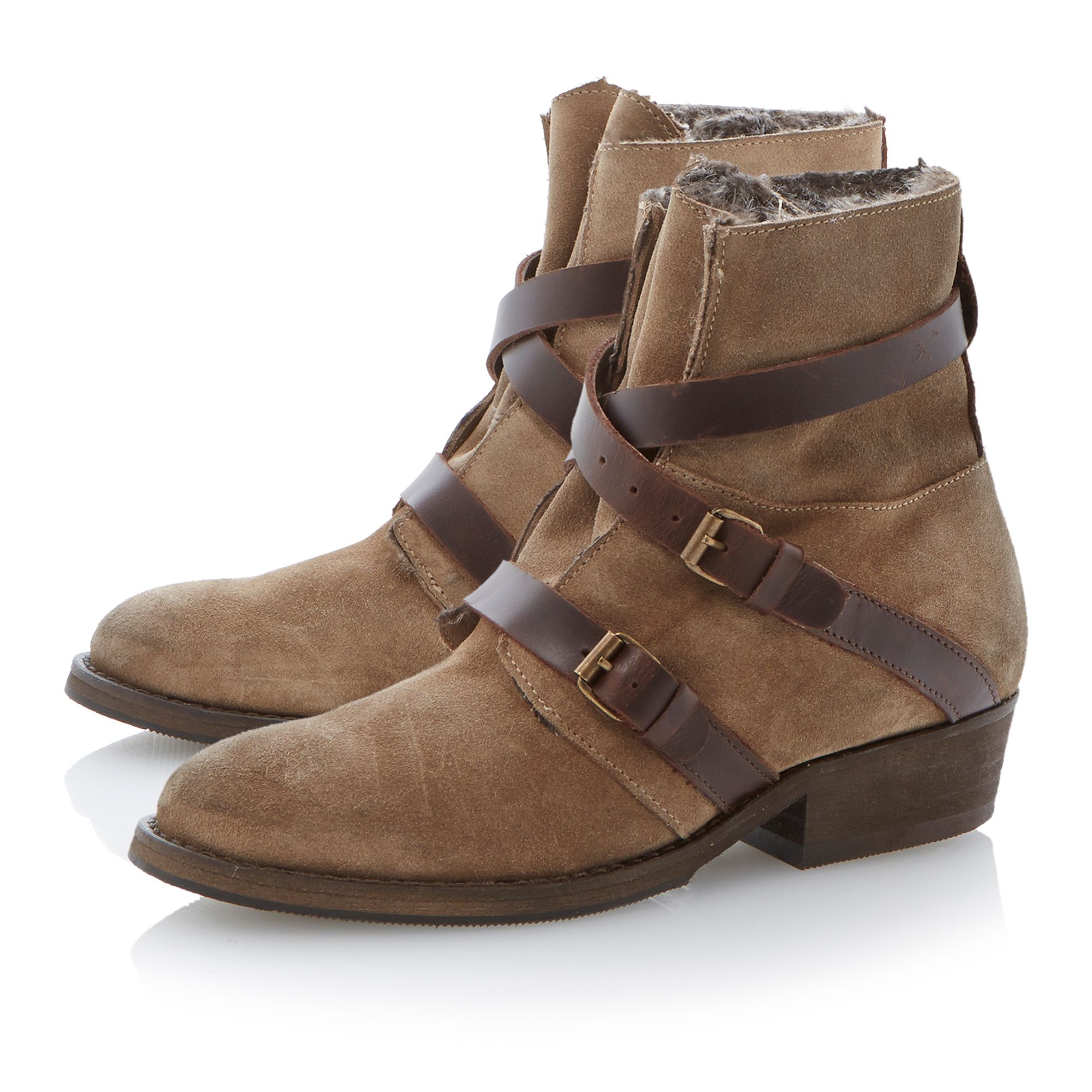 Poncho strap faux fur lined boots