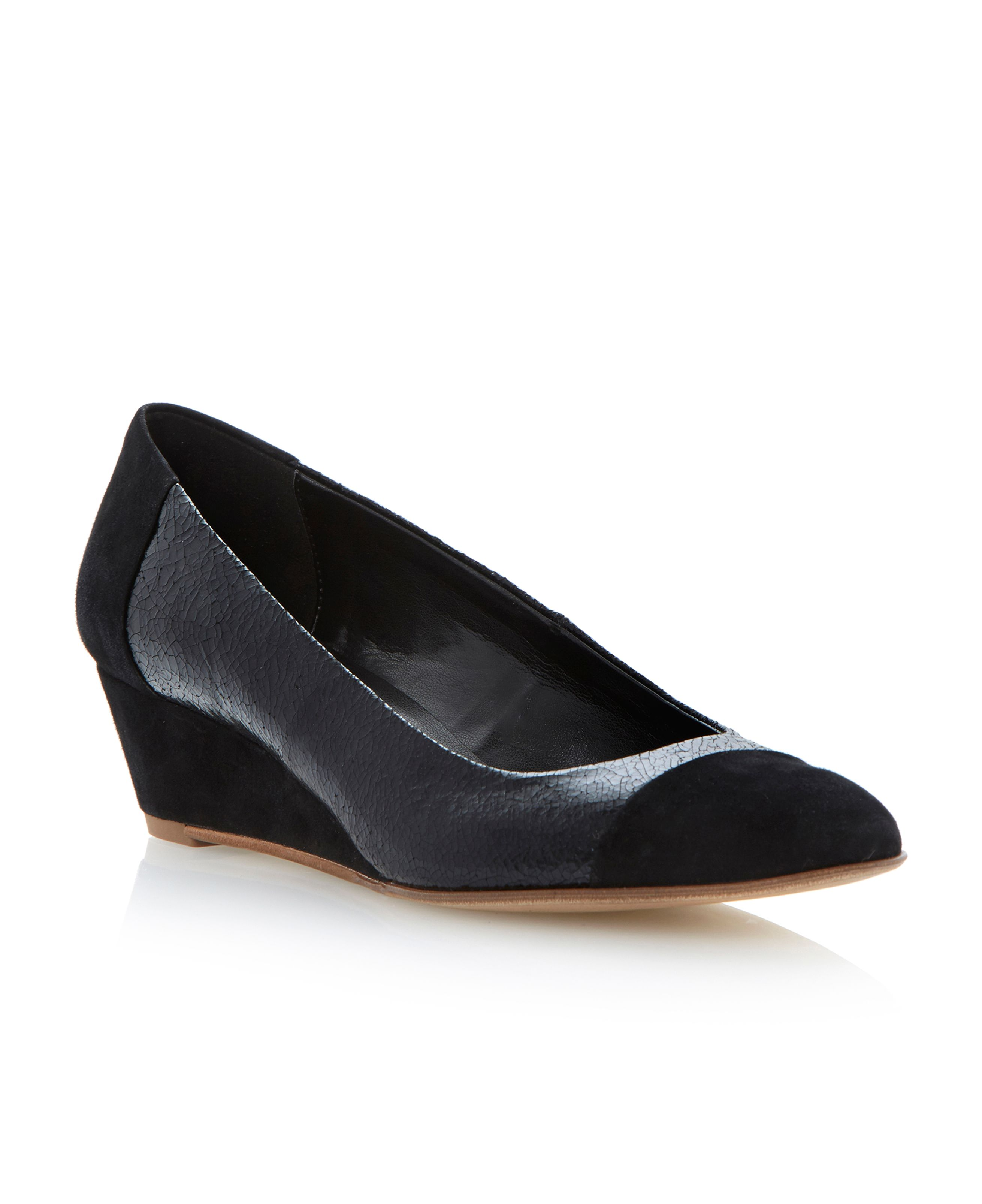 Alaine mix material mid wedge heel court shoes