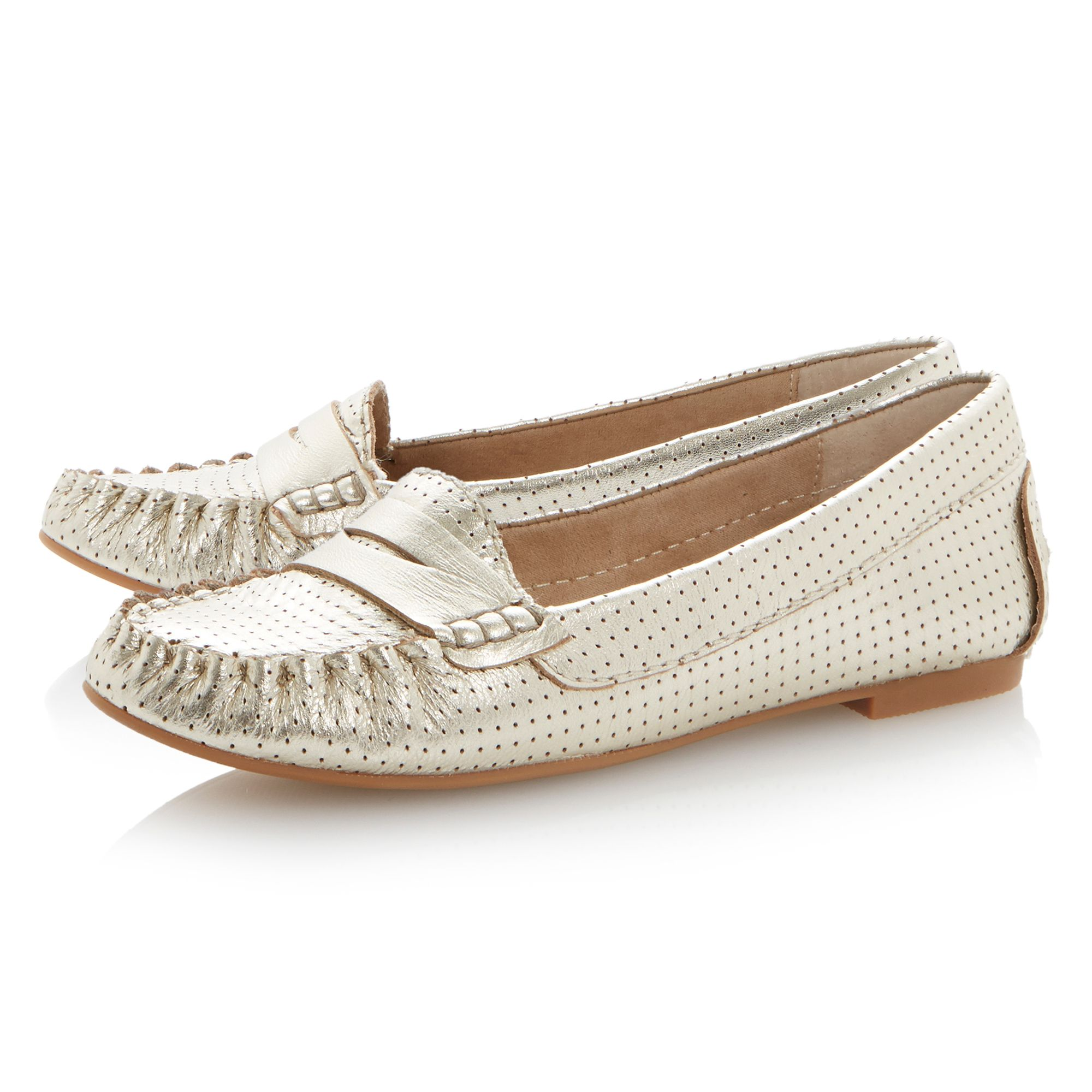 Murphey almond toe saddle flat loafer shoes