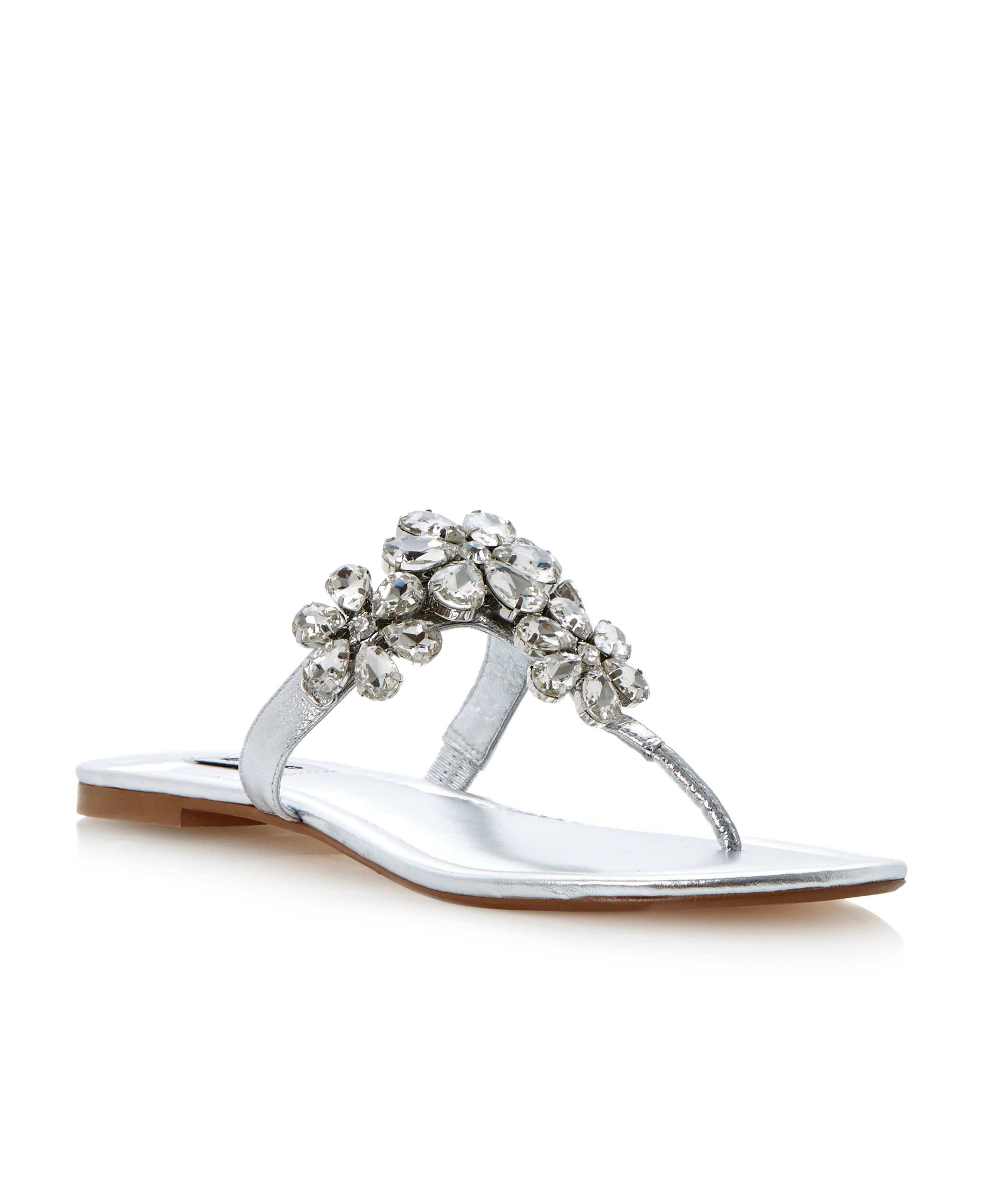 Kacey leather jewelled flower sandals