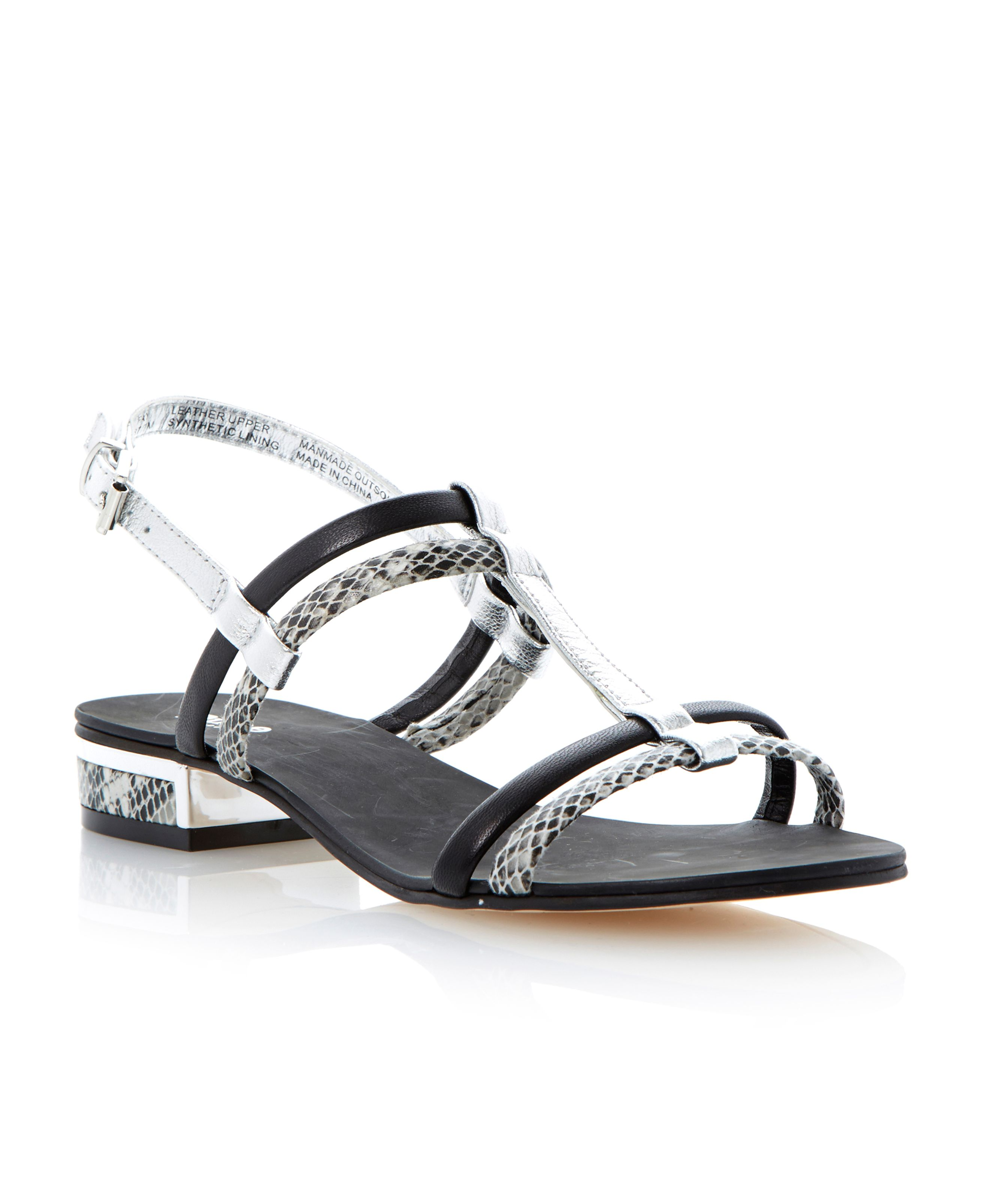 Fay leather block heel buckle sandals