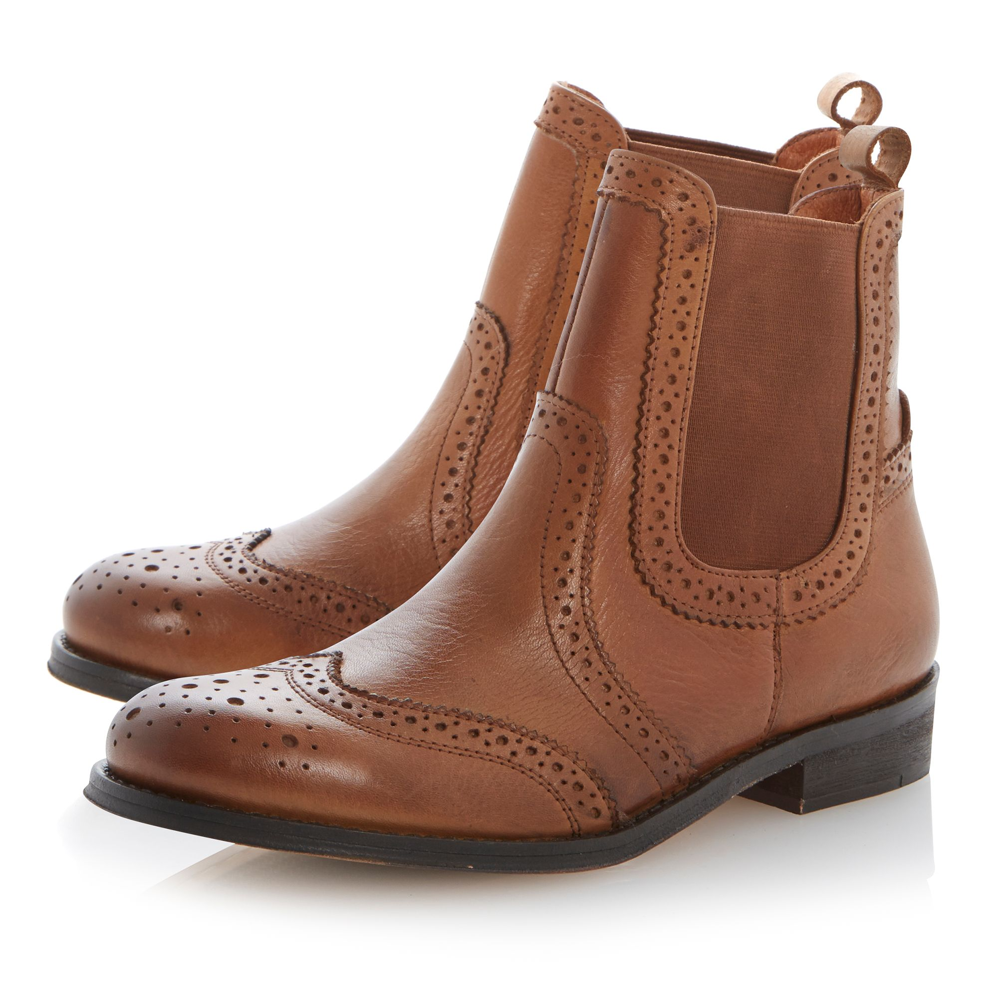 Poppi leather brogue chelsea ankle boots