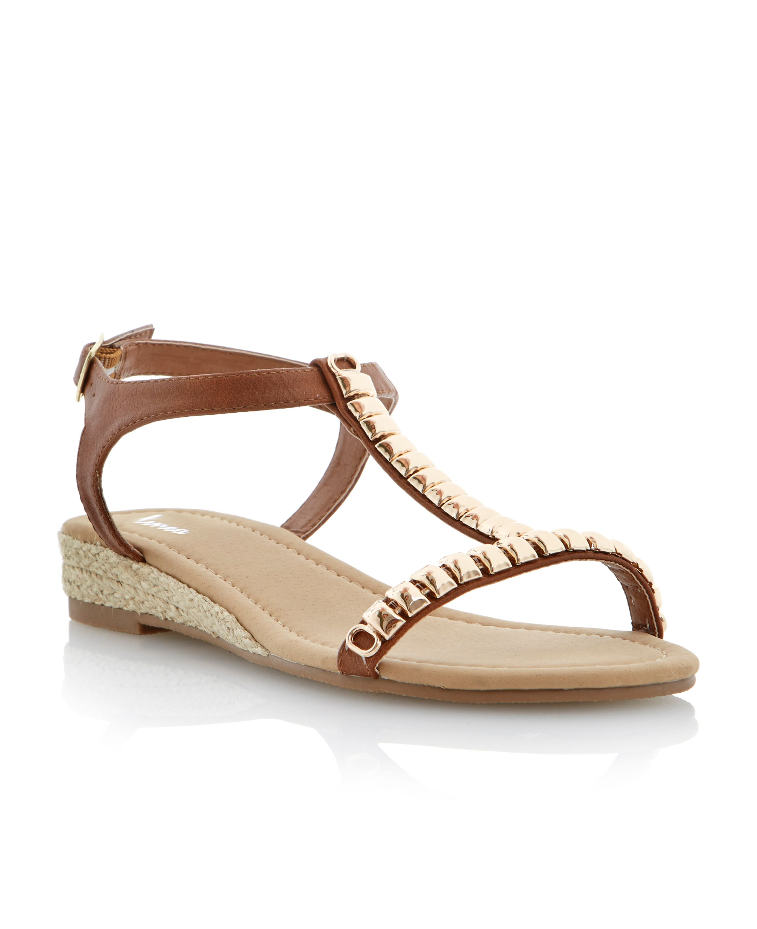 Gooseberry metal trim detail wedge sandals