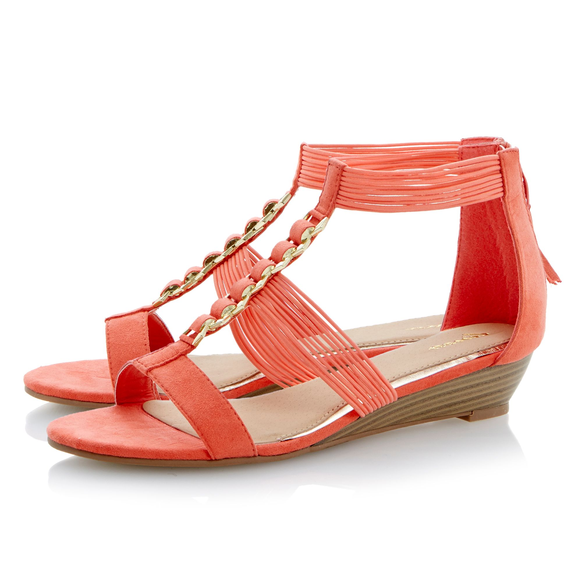 Julienne flat elastic trim wedge sandals