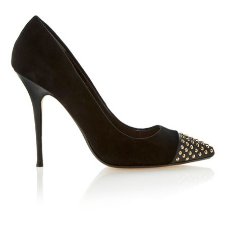 Dune Alesha studded pointed toe cap detail court shoes