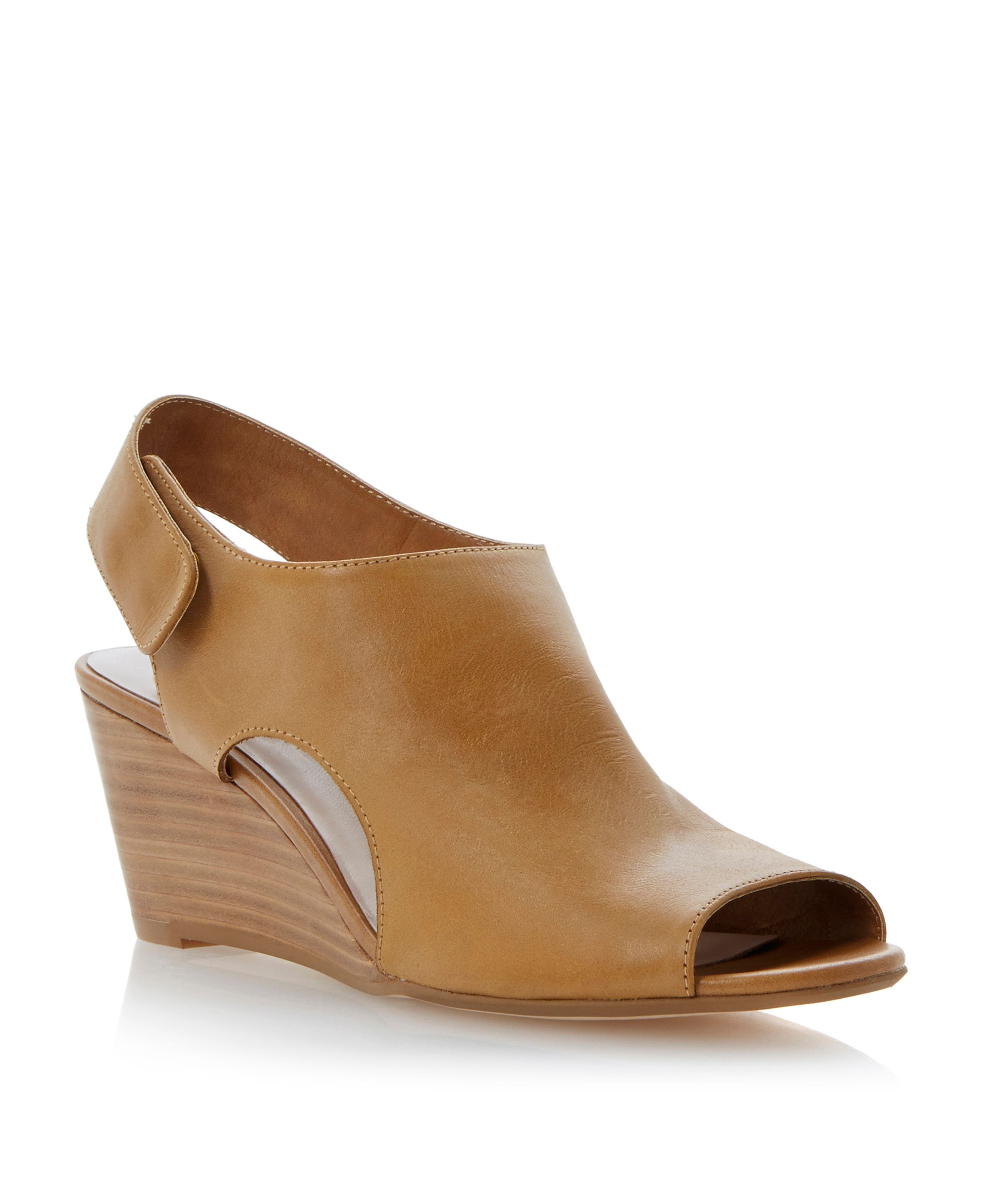 Giana leather wedge peeptoe sandals