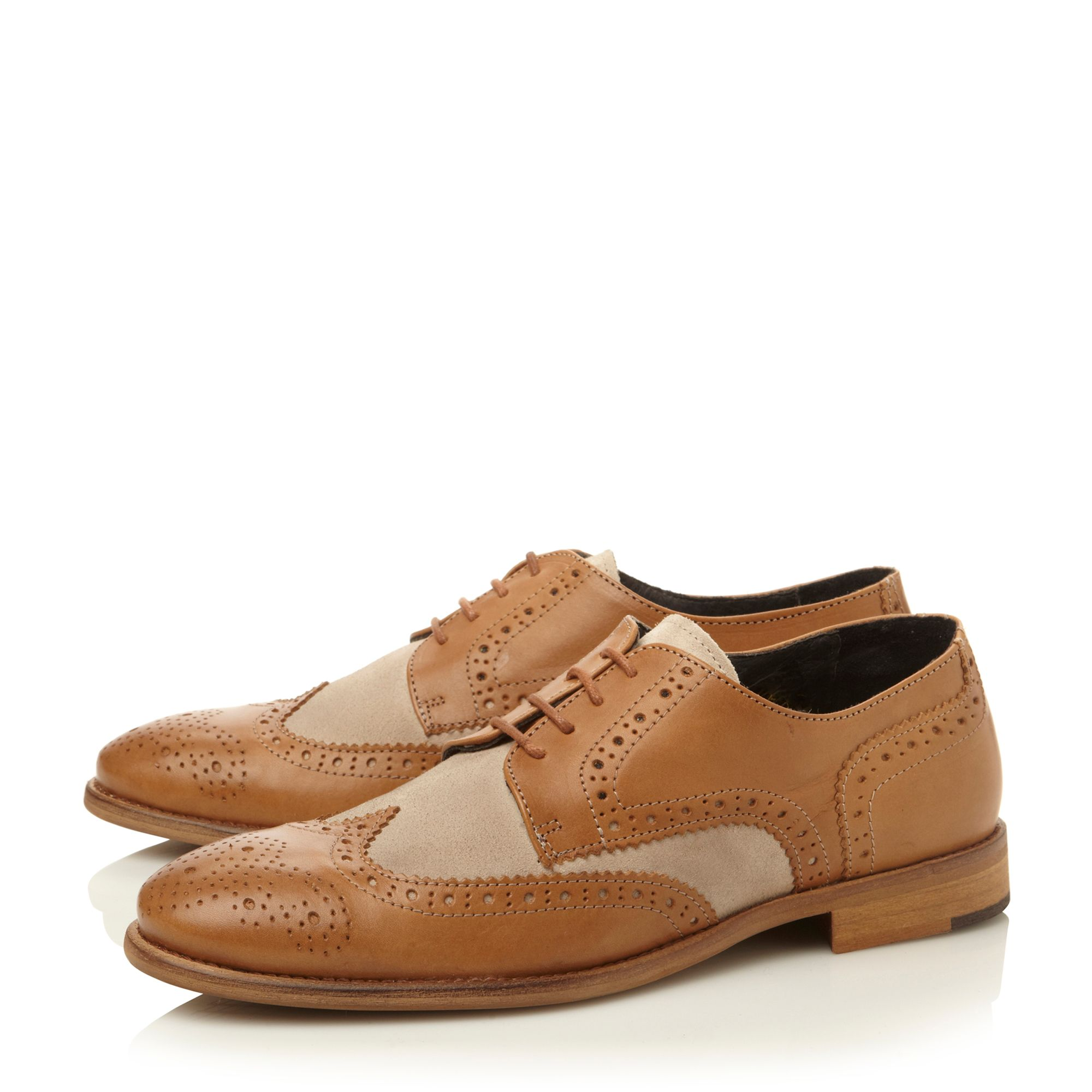 Aston 2 lace up suede and leather brogues