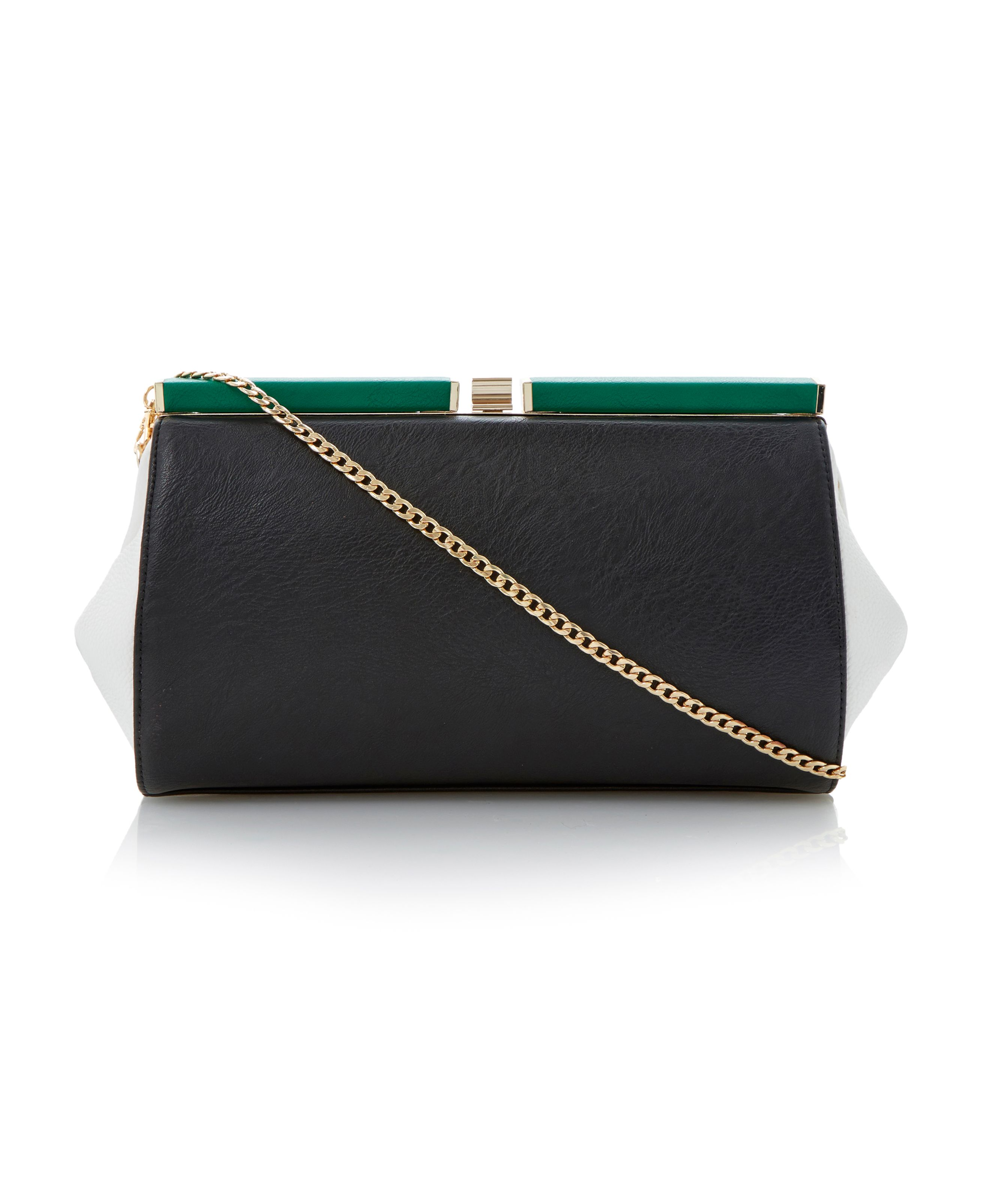 Bewinged winged colour block clutch bag