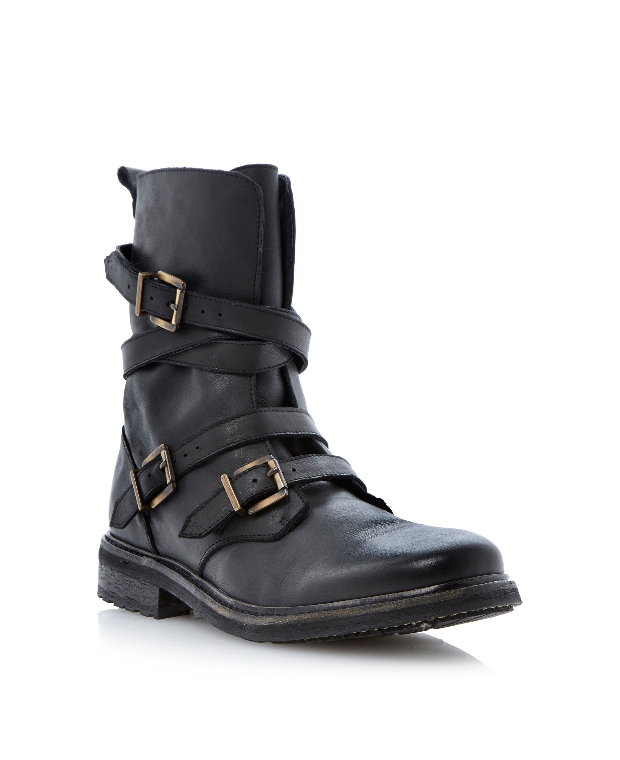 Carboretta strap and buckle biker boot