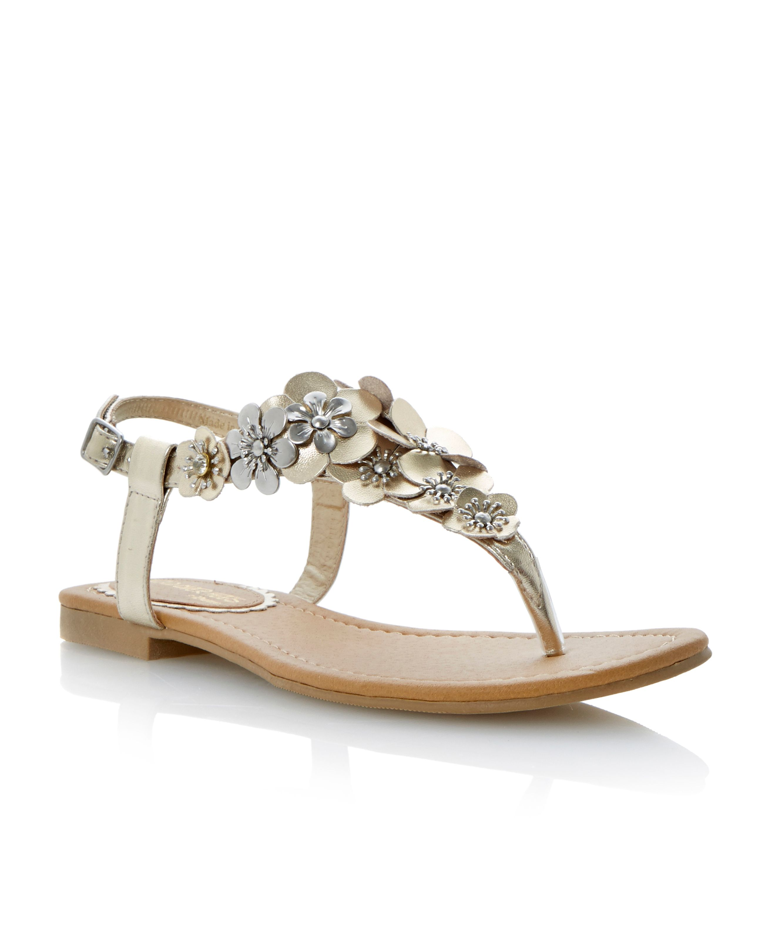 Honeycomb buckle flat dressy sandals