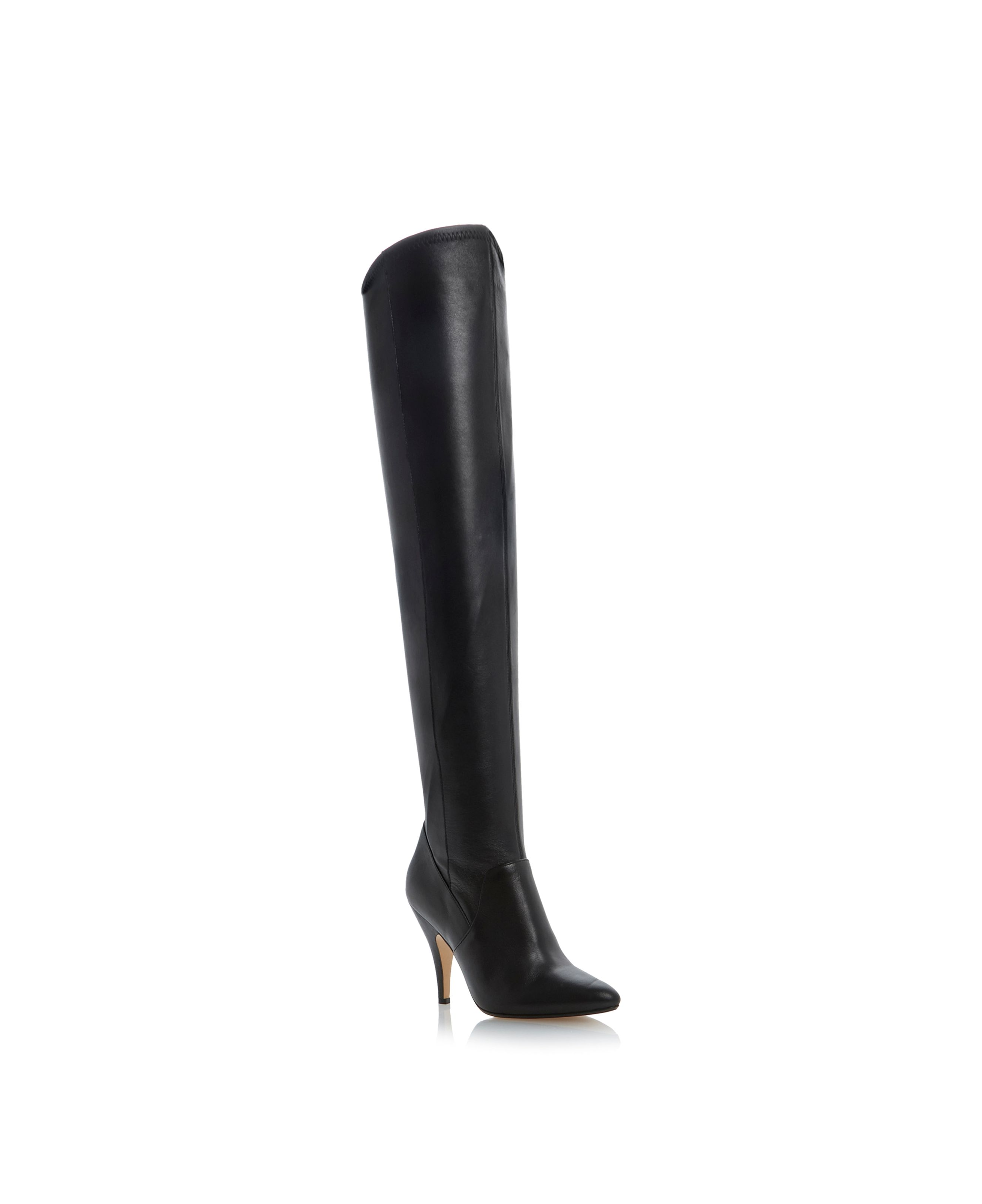 Stretchy leather round toe stiletto high boots