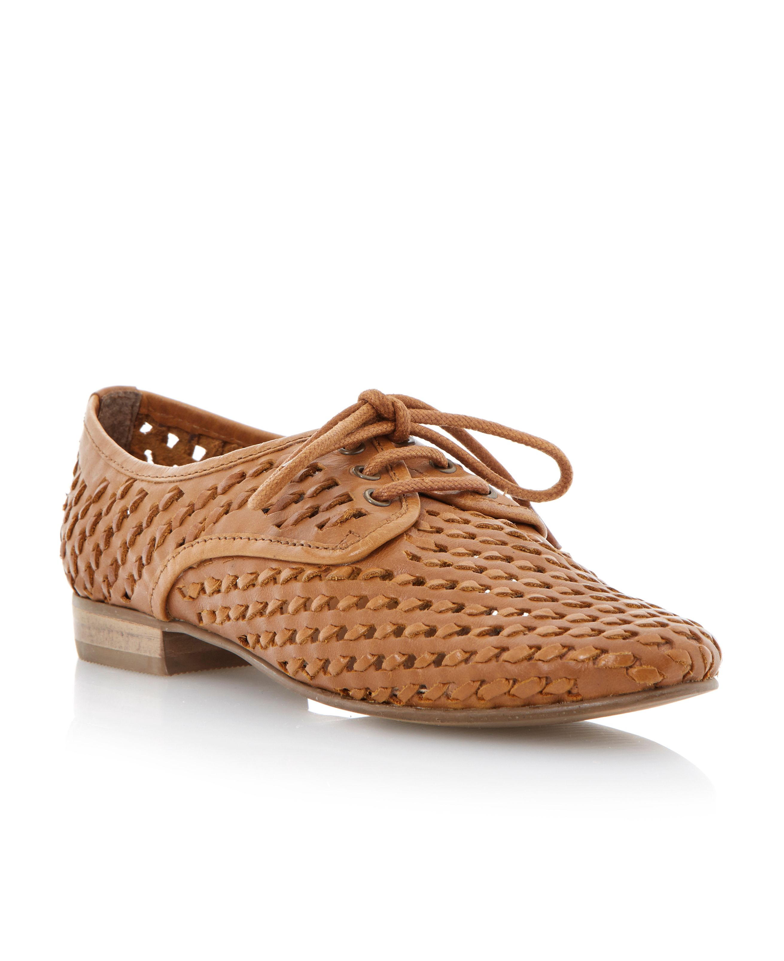 Lost leather almond toe stacked heel shoes