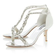 Happiness leather t-bar jewelled stiletto sandals