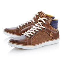 Sebastian lace up side laser detail trainers