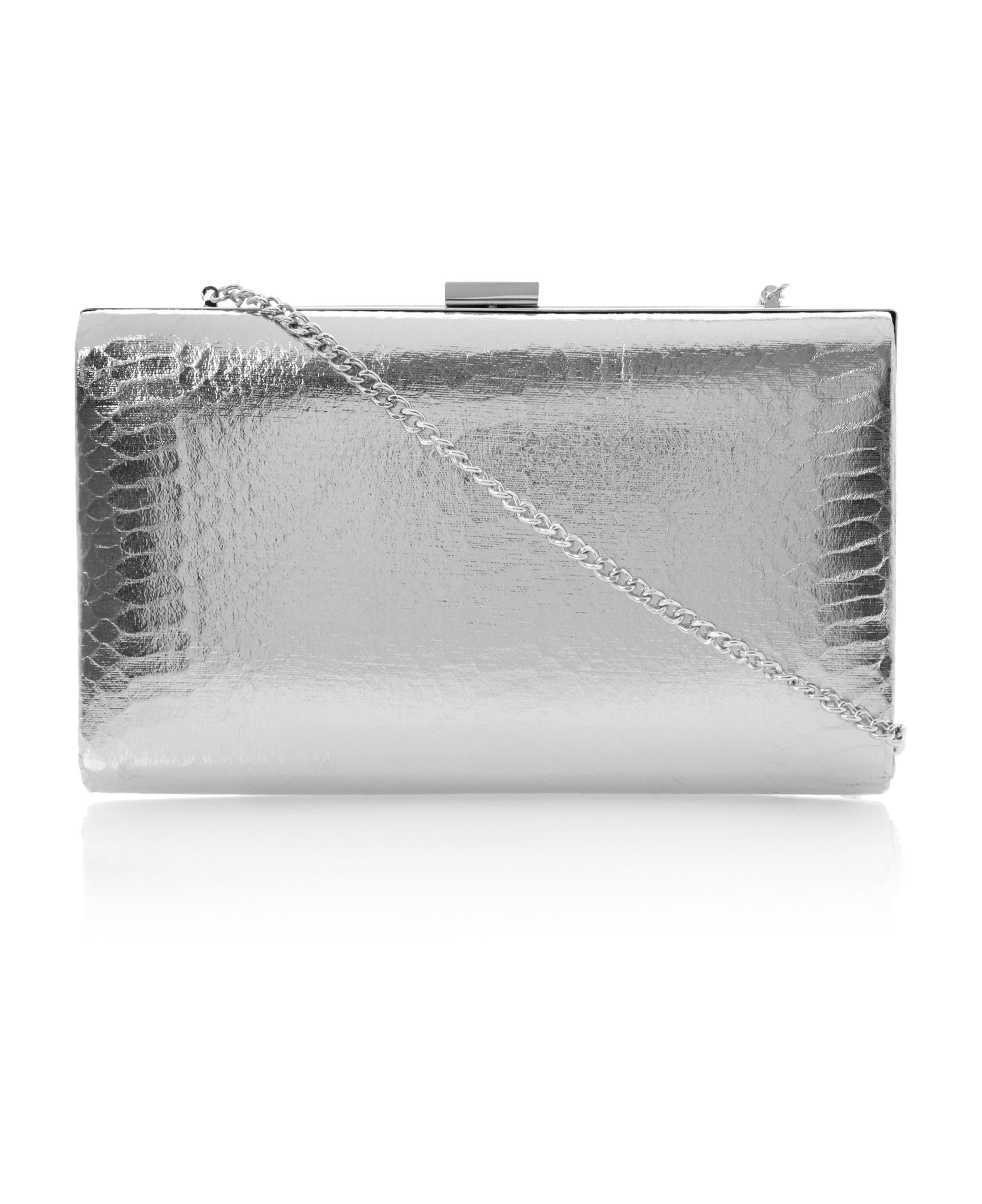 Beloise metallic snake print clutch bag