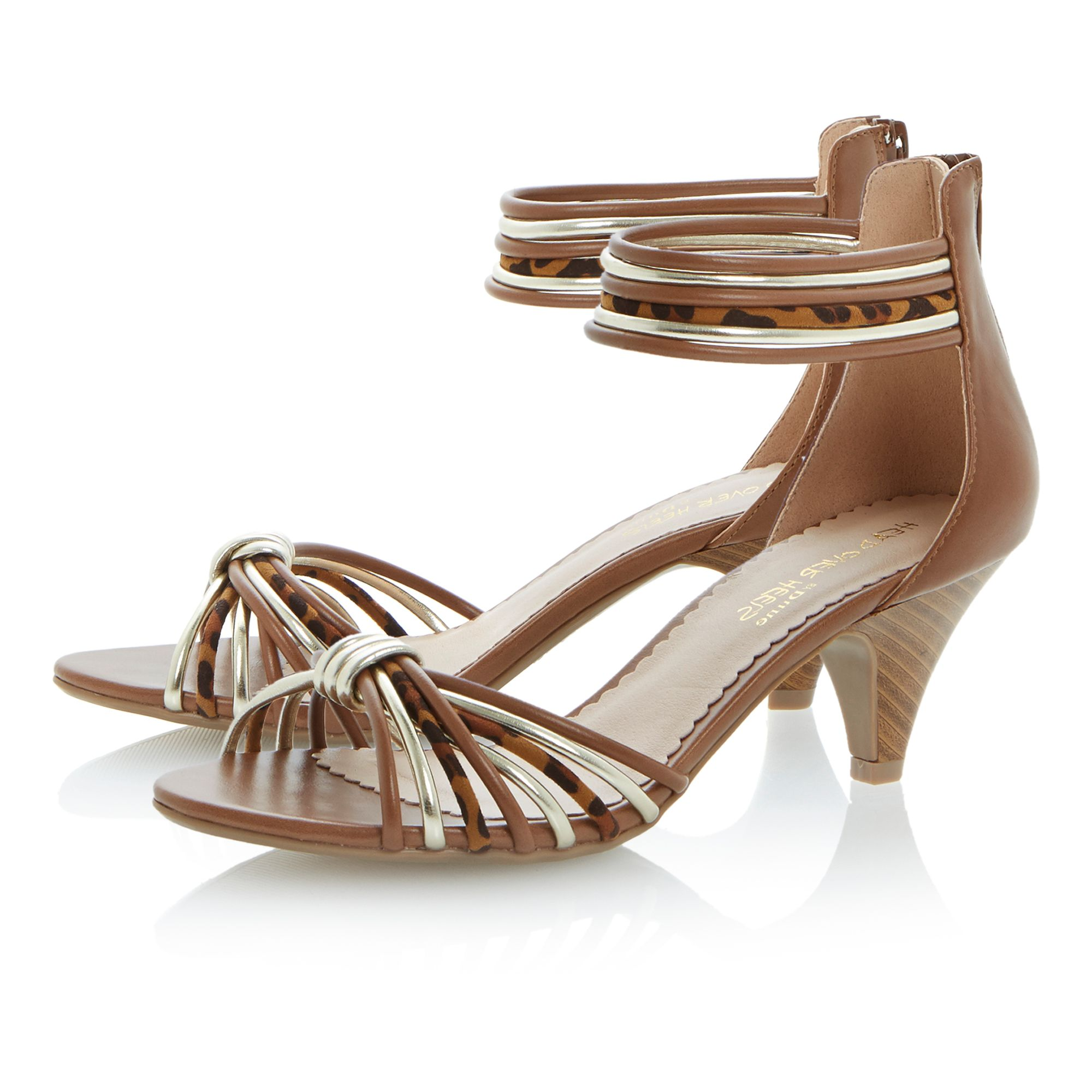 Gelato round toe stacked heel knot sandals