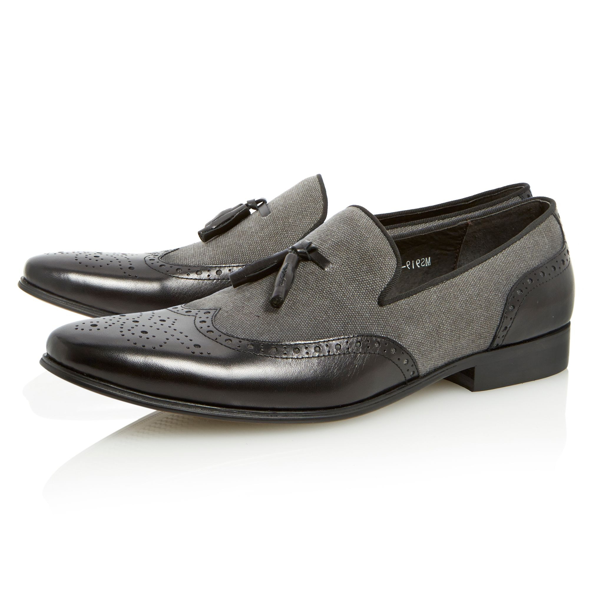 Applaud leather canvas tassel loafers