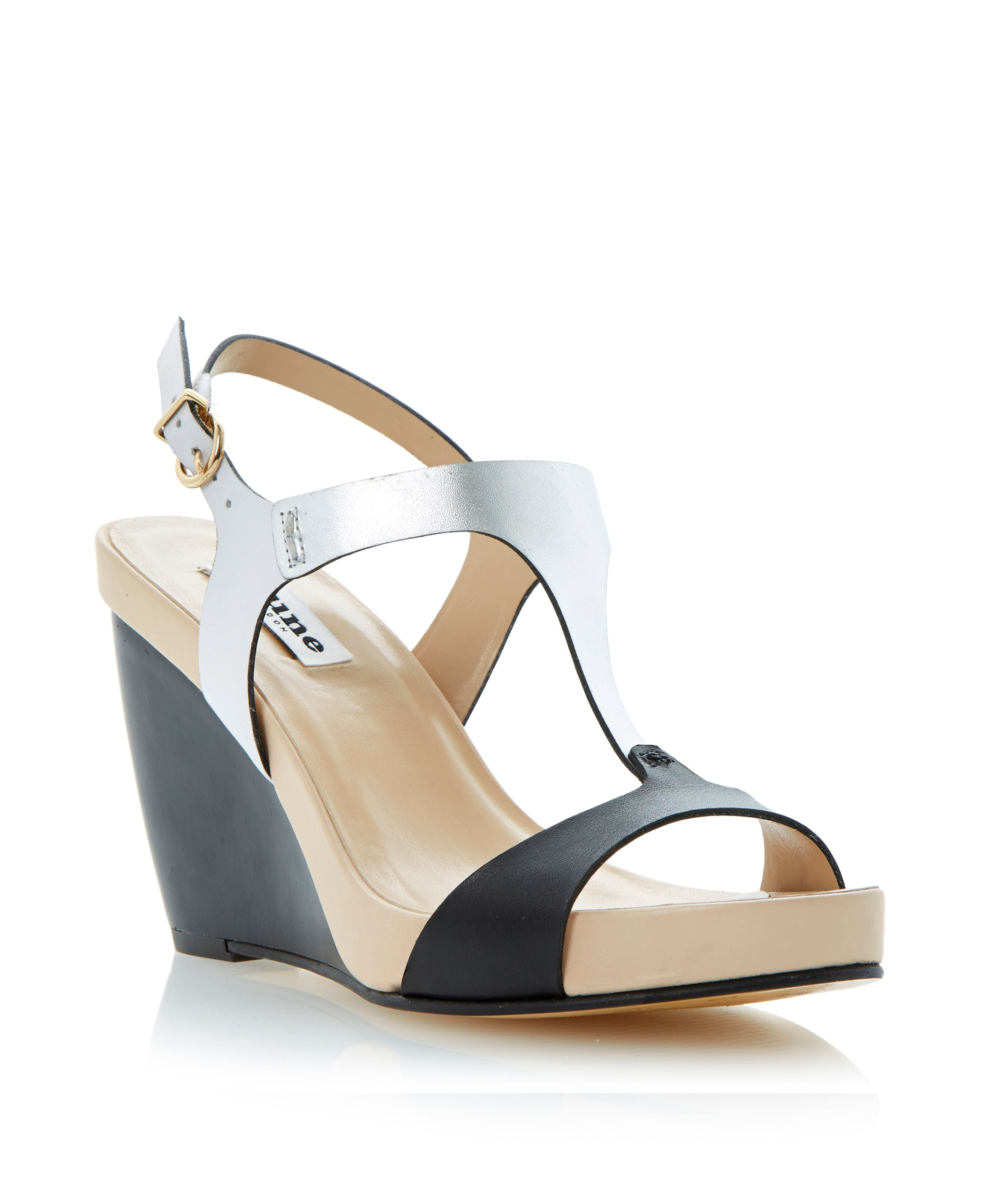 Giselle buckle leather wedge sandals