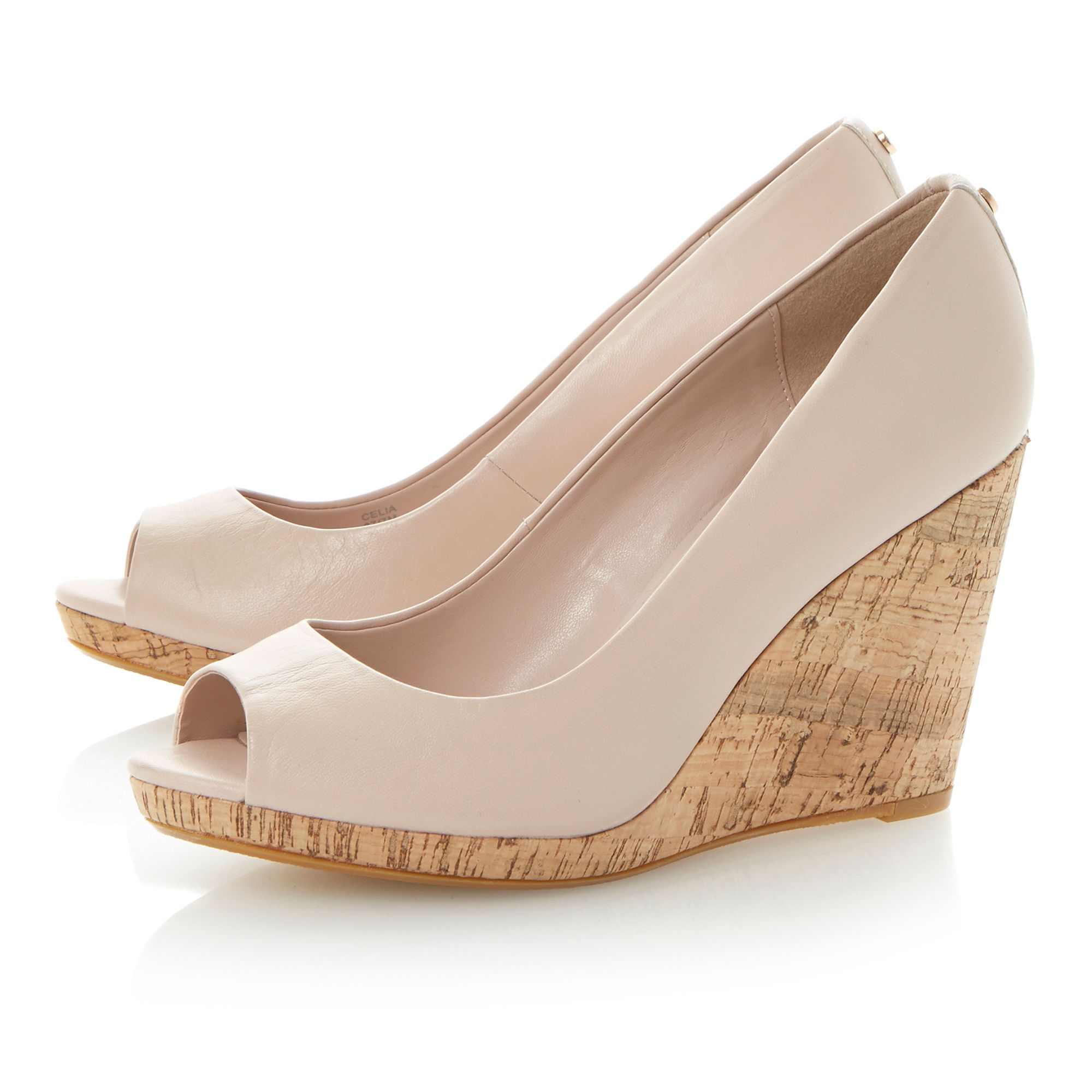 Celia leather peeptoe wedge court shoes