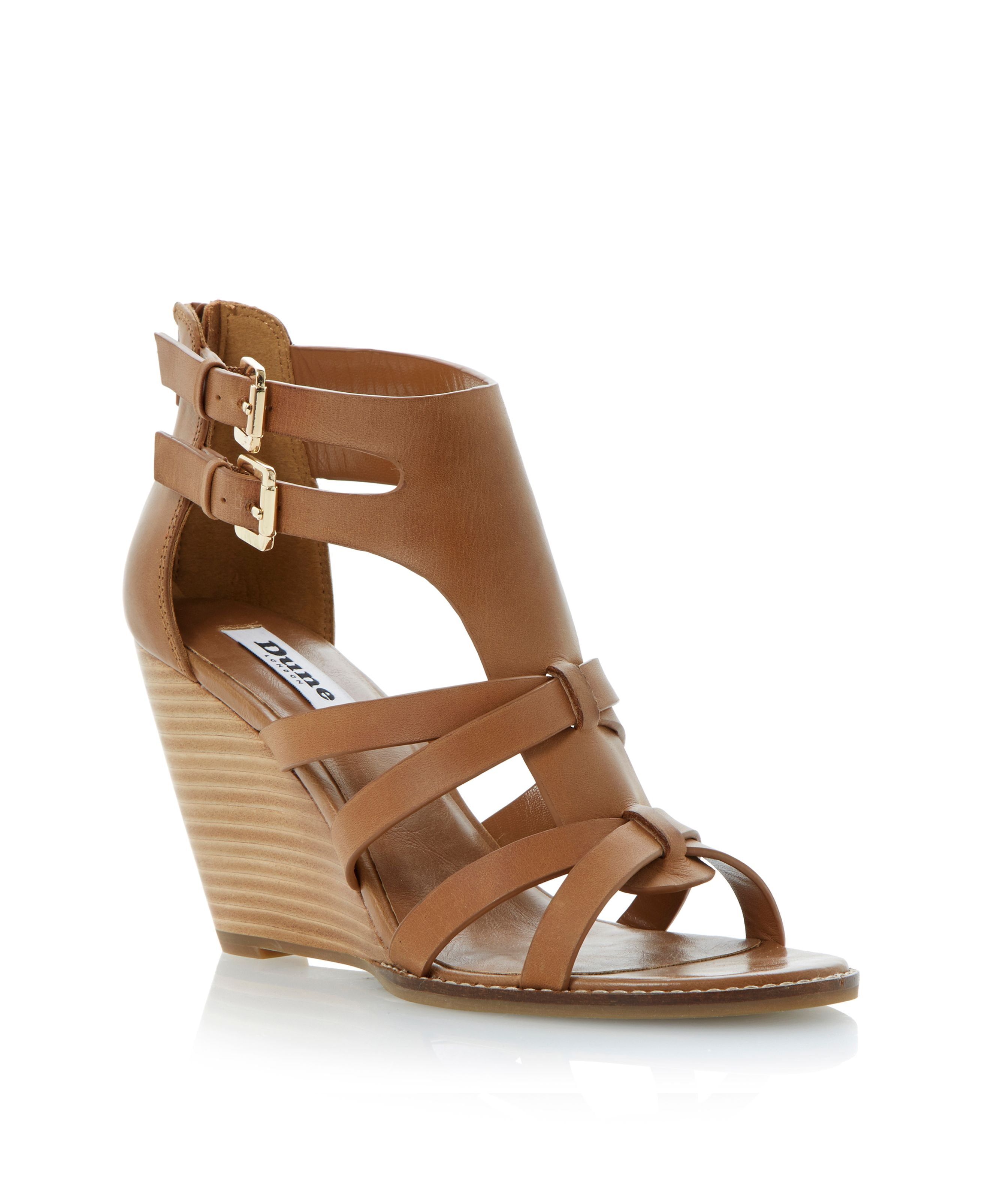 Gerad leather wedge buckle sandals