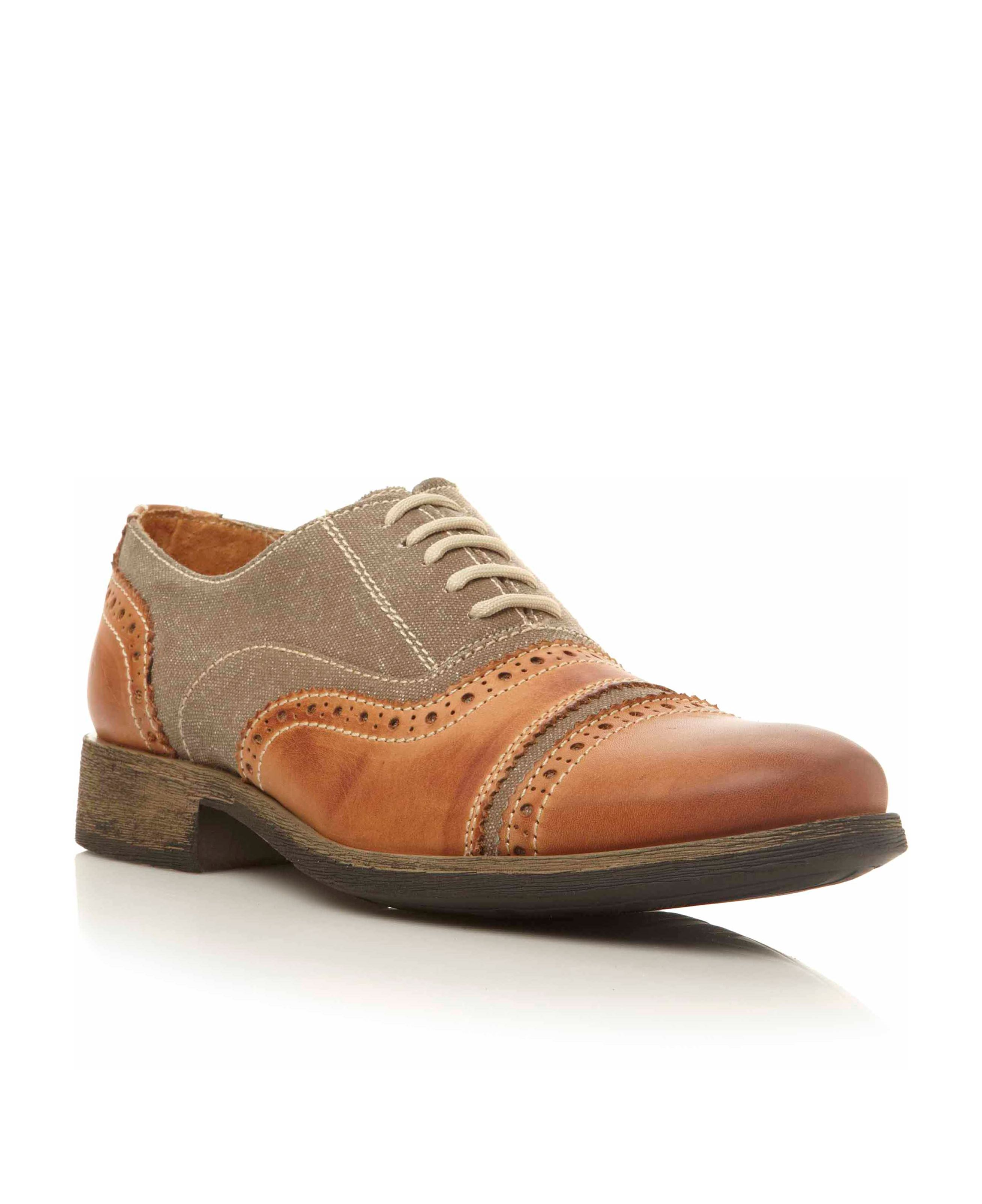 Cabal lace up canvas/textile brogues