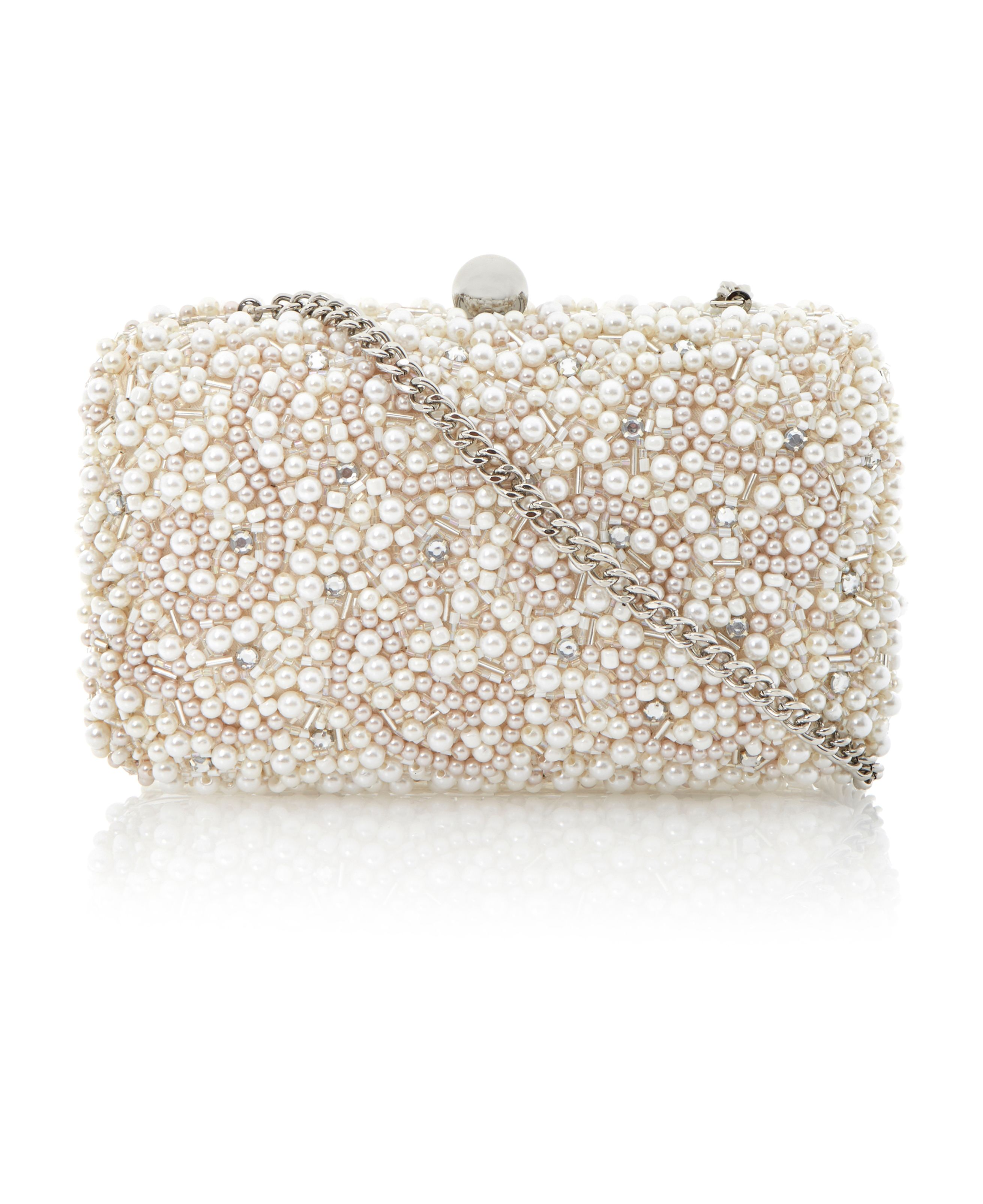Bedazzled all over pearl beaded clutch bag
