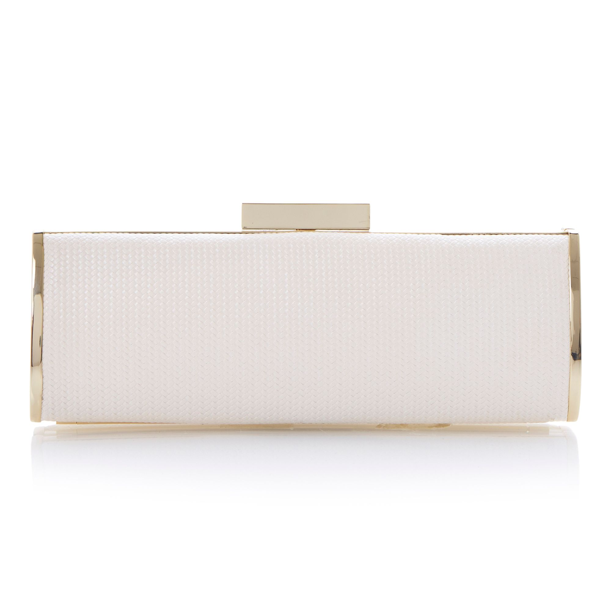 Bateenas leather woven ivory clutch bag