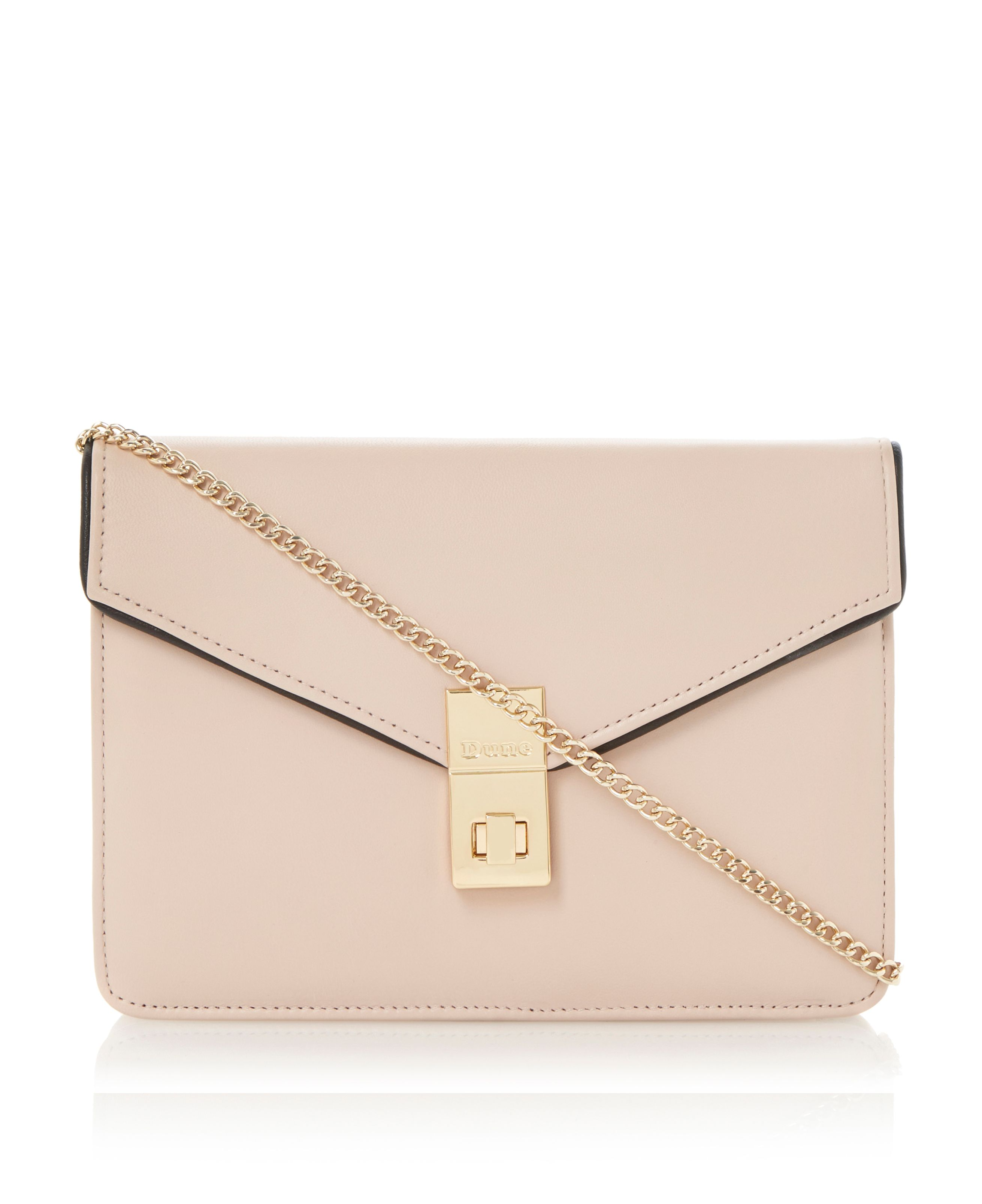 Bashful metal turn lock detail leather clutch bag
