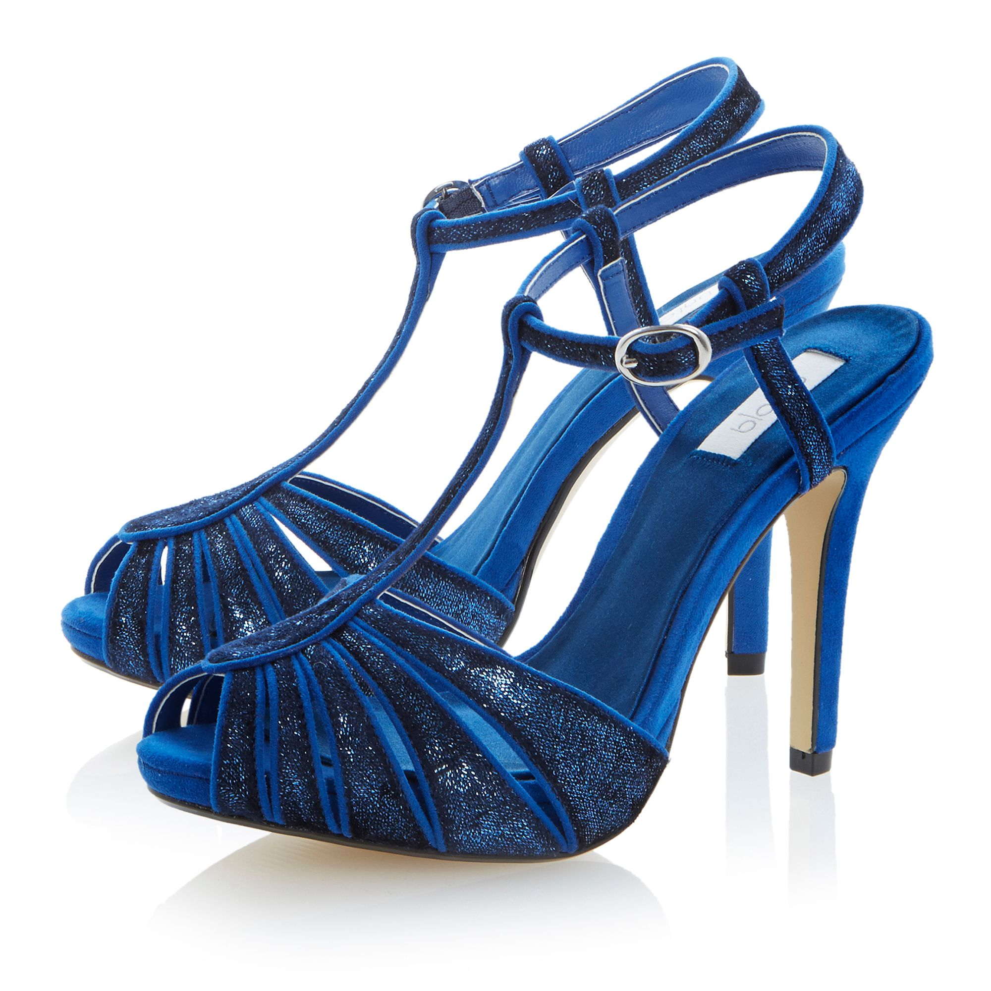 Hydrangea stiletto t-bar platform sandals