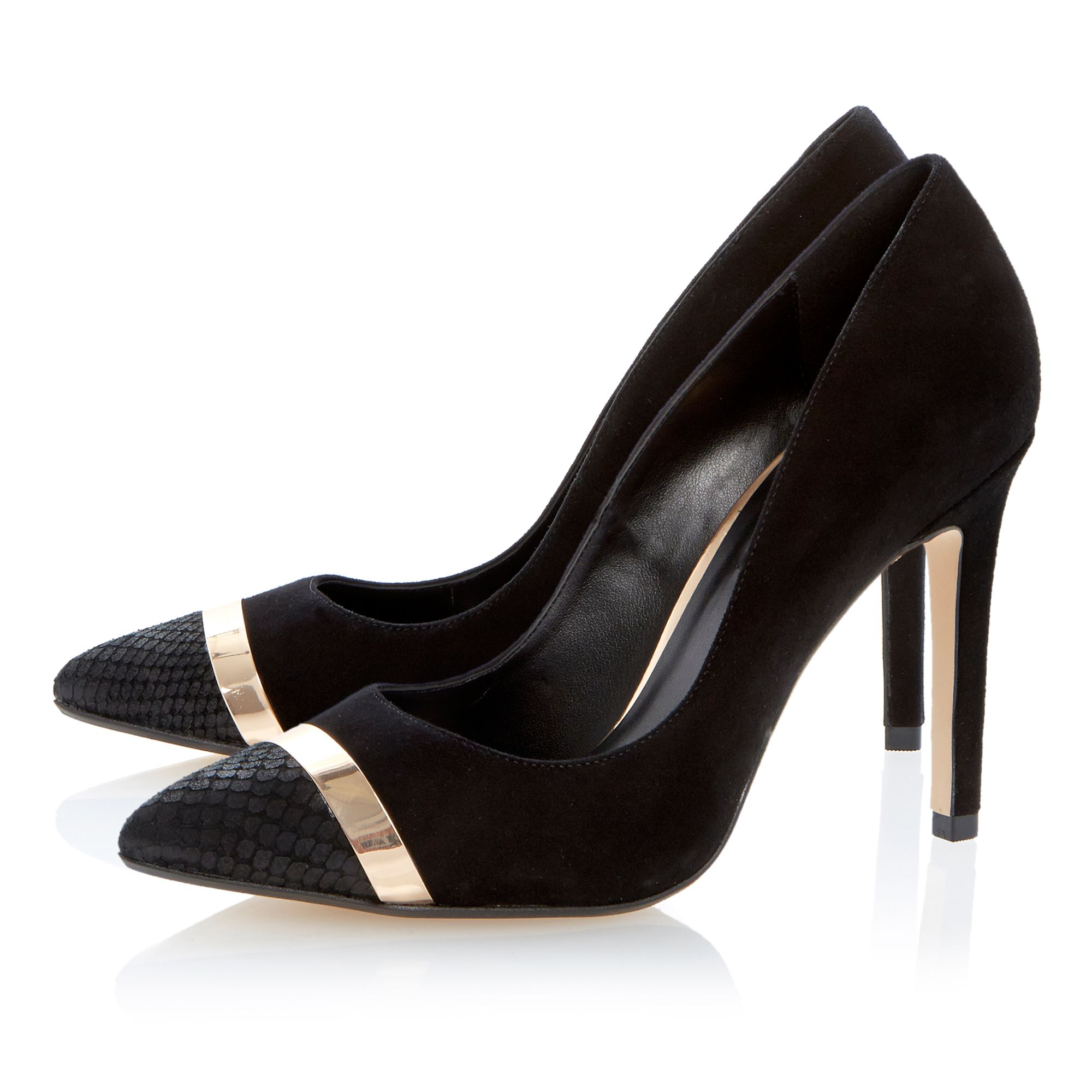 Bellini leather pointed toe stiletto court shoes