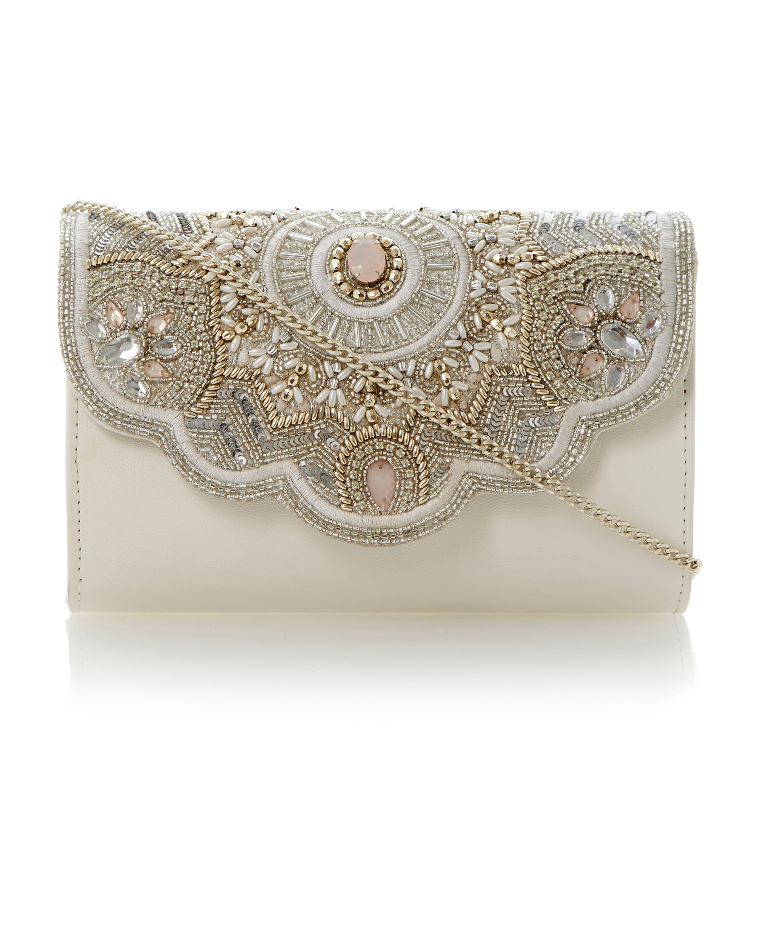 Endia scallop trim beaded clutch bag